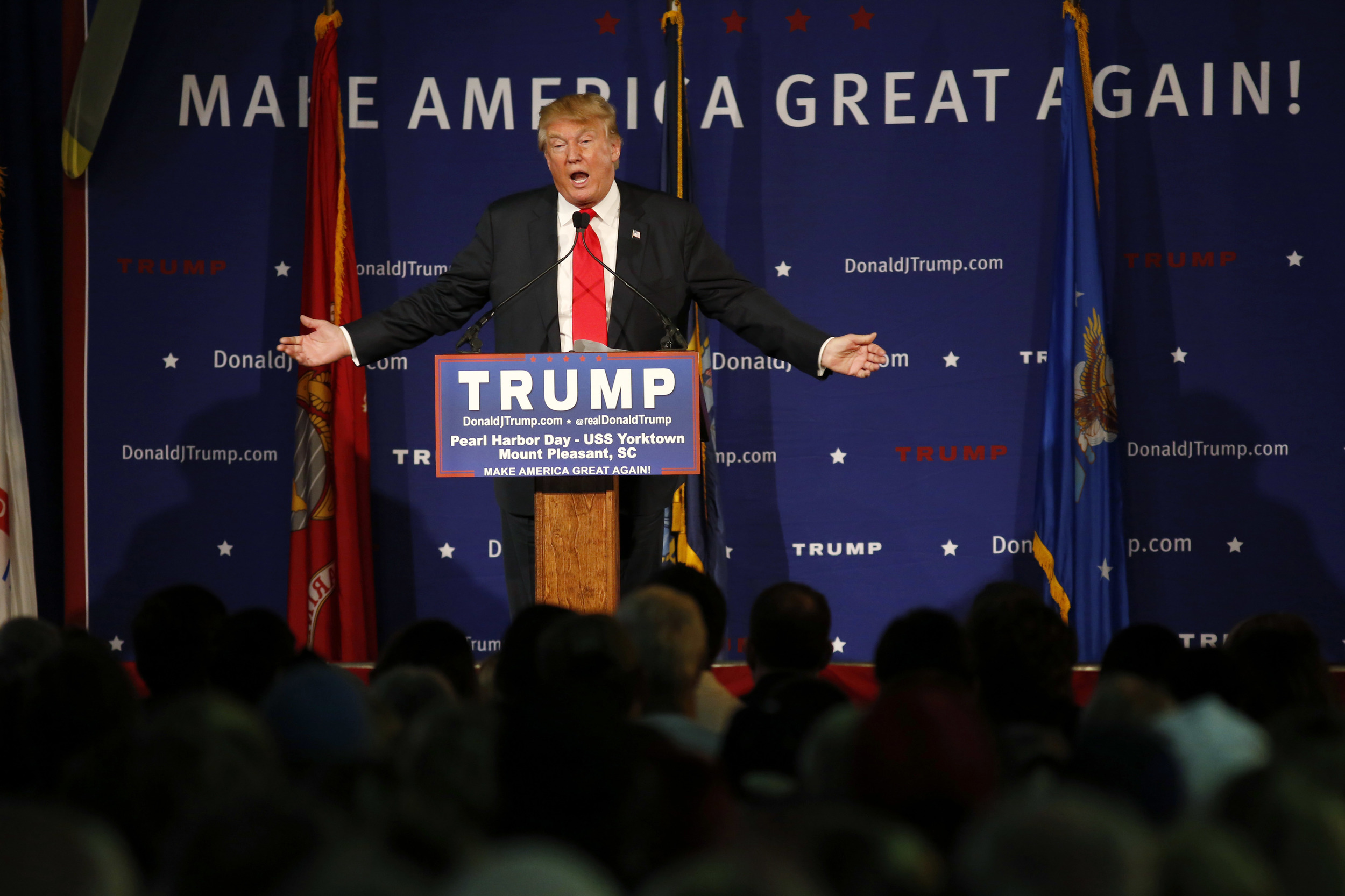 Republican presidential candidate, businessman Donald Trump, speaks during a rally coinciding with Pearl Harbor Day at Patriots Point aboard the aircraft carrier USS Yorktown in Mt. Pleasant, S.C., Monday, Dec. 7, 2015. (Mic Smith/AP)