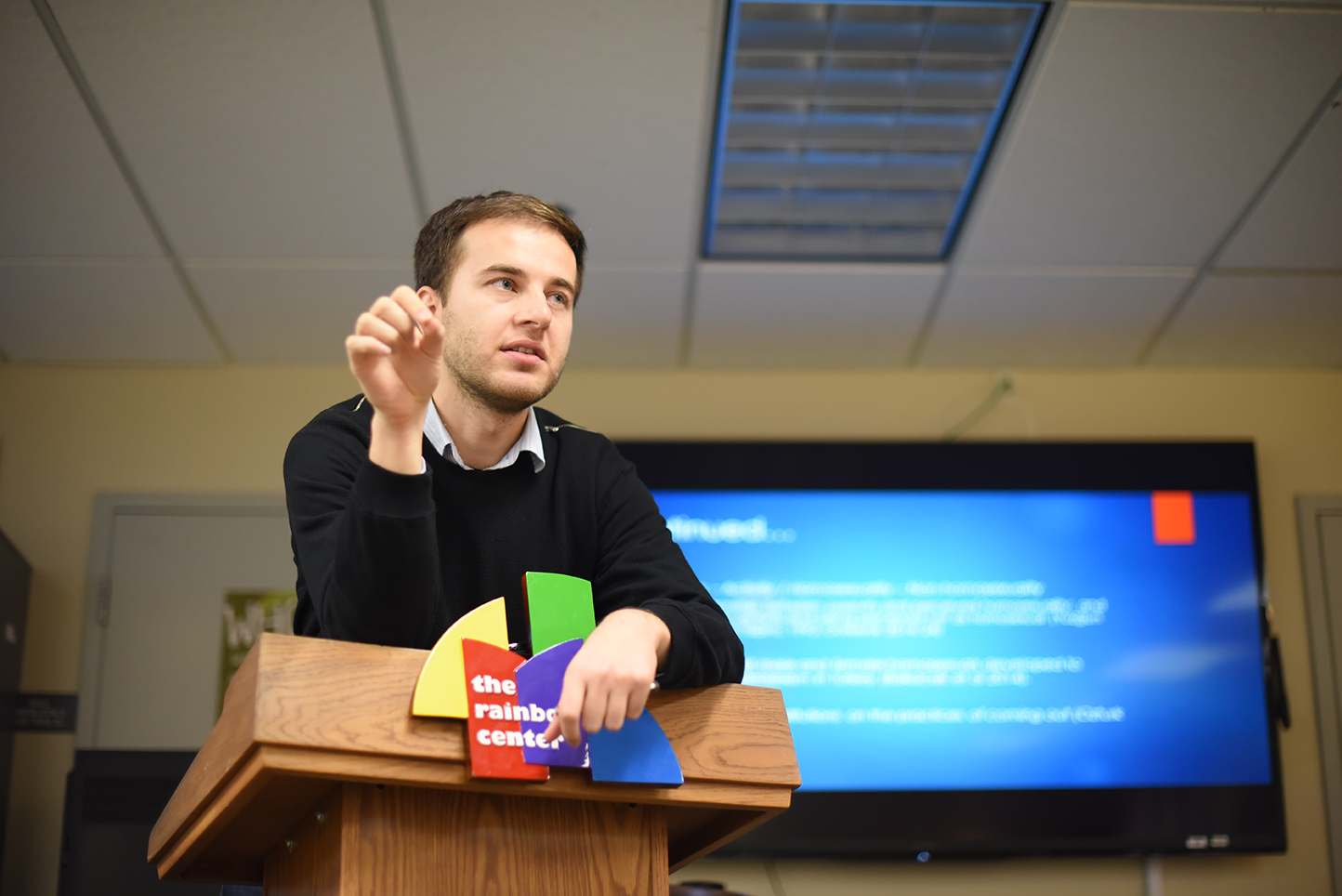 Guest lecturer Caner Hazar, a UConn Ph.D student in sociology, speaks during his lecture at the Rainbow Center in UConn's Student Union on Thursday, Dec. 10, 2015. (Allen Lang/The Daily Campus)