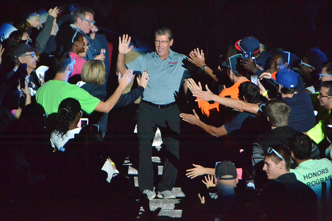 UConn women's basketball head coach Geno Auriemma greets fans during First Night. (Bailey Wright/The Daily Campus)