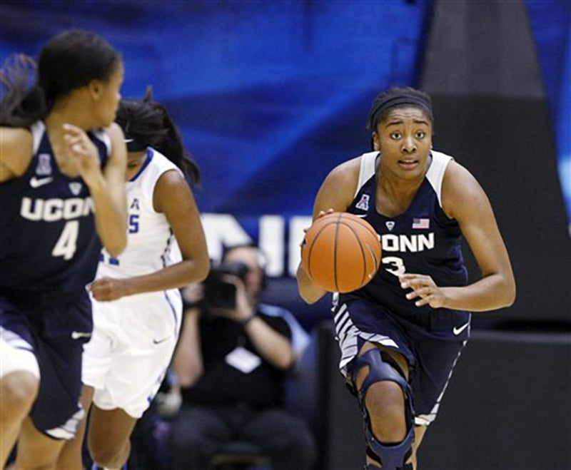 Connecticut's Morgan Tuck (3) brings the ball down court in the first half of an NCAA college basketball game against University of Memphis, Wednesday, Jan. 13, 2016, in Memphis, Tenn. (AP Photo/Karen Pulfer Focht)