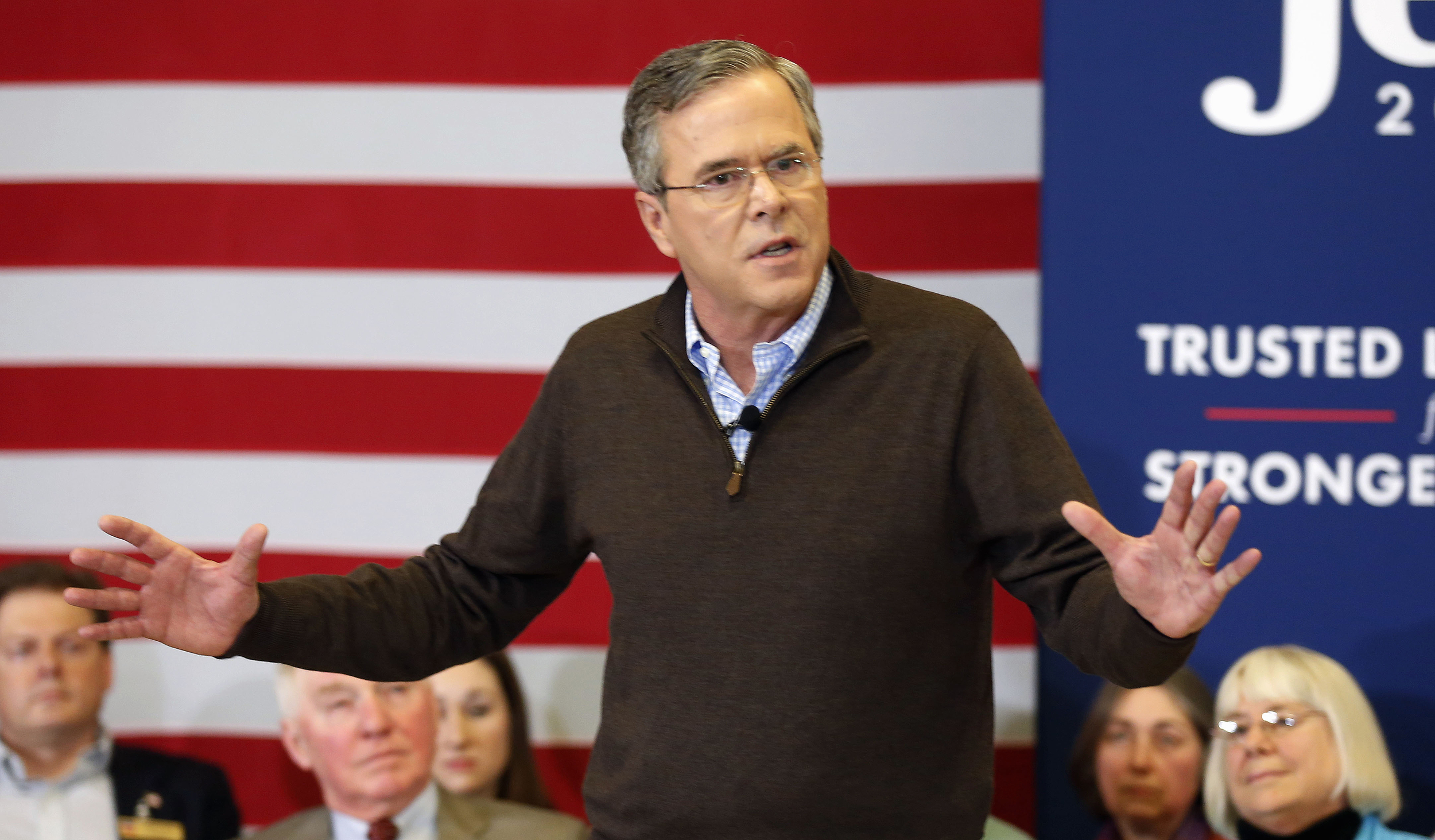 Republican presidential candidate, former Florida Gov. Jeb Bush speaks during a campaign stop at Souhegan High School, Saturday, Jan. 16, 2016, in Amherst, NH. (Jim Cole/AP)