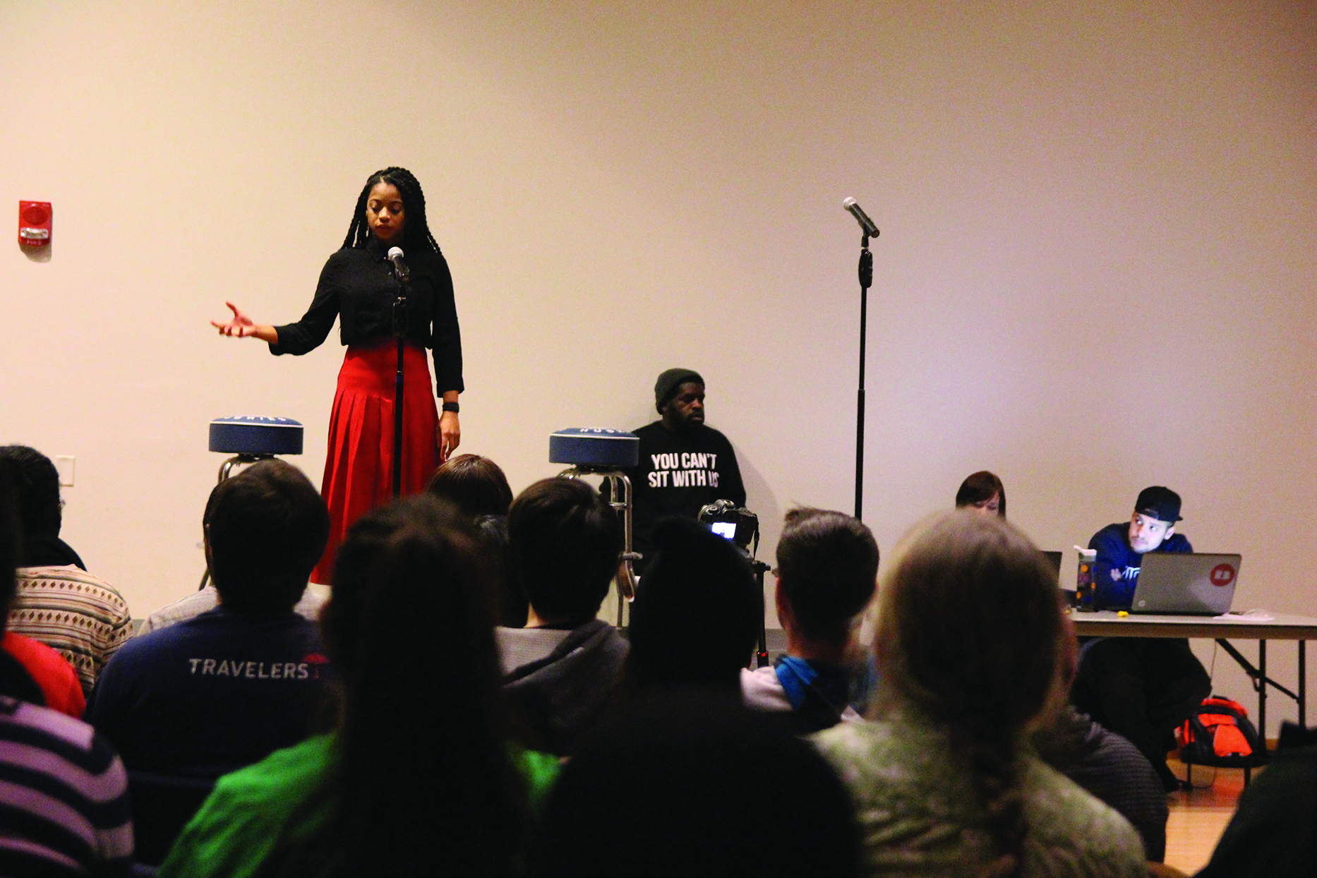 In this 2015 file photo of last year's Grand Slam, a student recites her poetry for a spot in the final competition. This year, that competition, the College Unions Poetry Slam Invitational, will be held in Austin, Texas. (Daily Campus/File Photo)