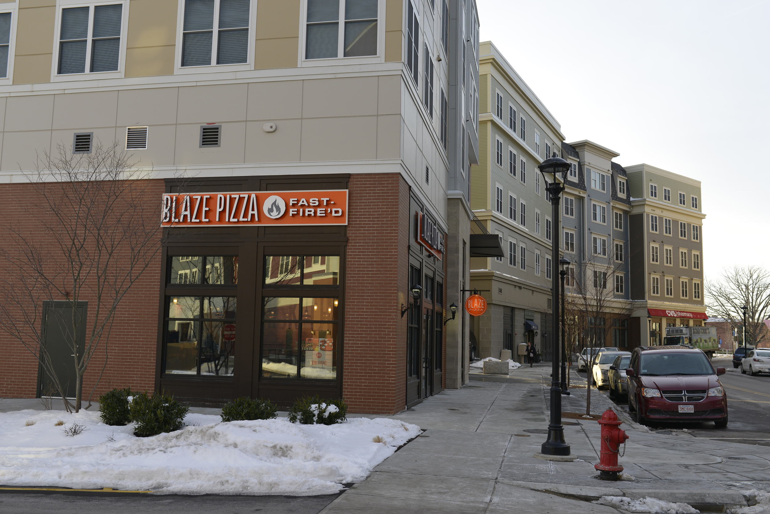 Blaze Fast Fire'd Pizza is located at 12 Royce Circle,across the street from The Oaks on the Square apartment complex and the liquor store, Storrs Wine and Spirits. (Jason Jiang/The Daily Campus)