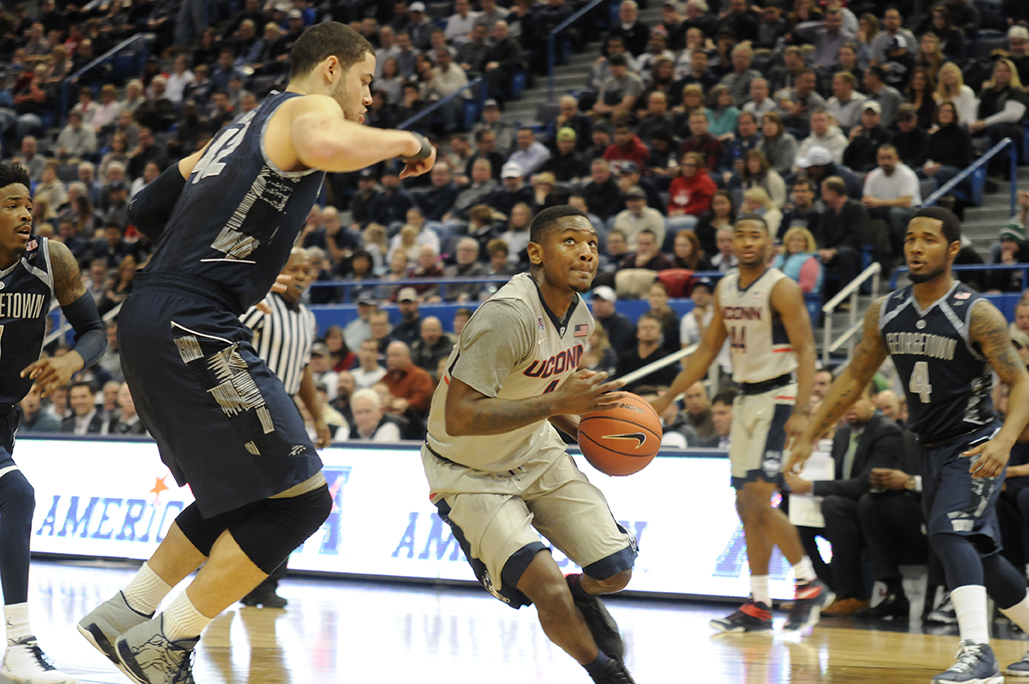 Guard Sterling Gibbs gets to the rim during UConn's victory against Georgetown at the XL Center on Jan. 23, 2016. Gibbs finished with 16 points. (Bailey Wright/The Daily Campus)