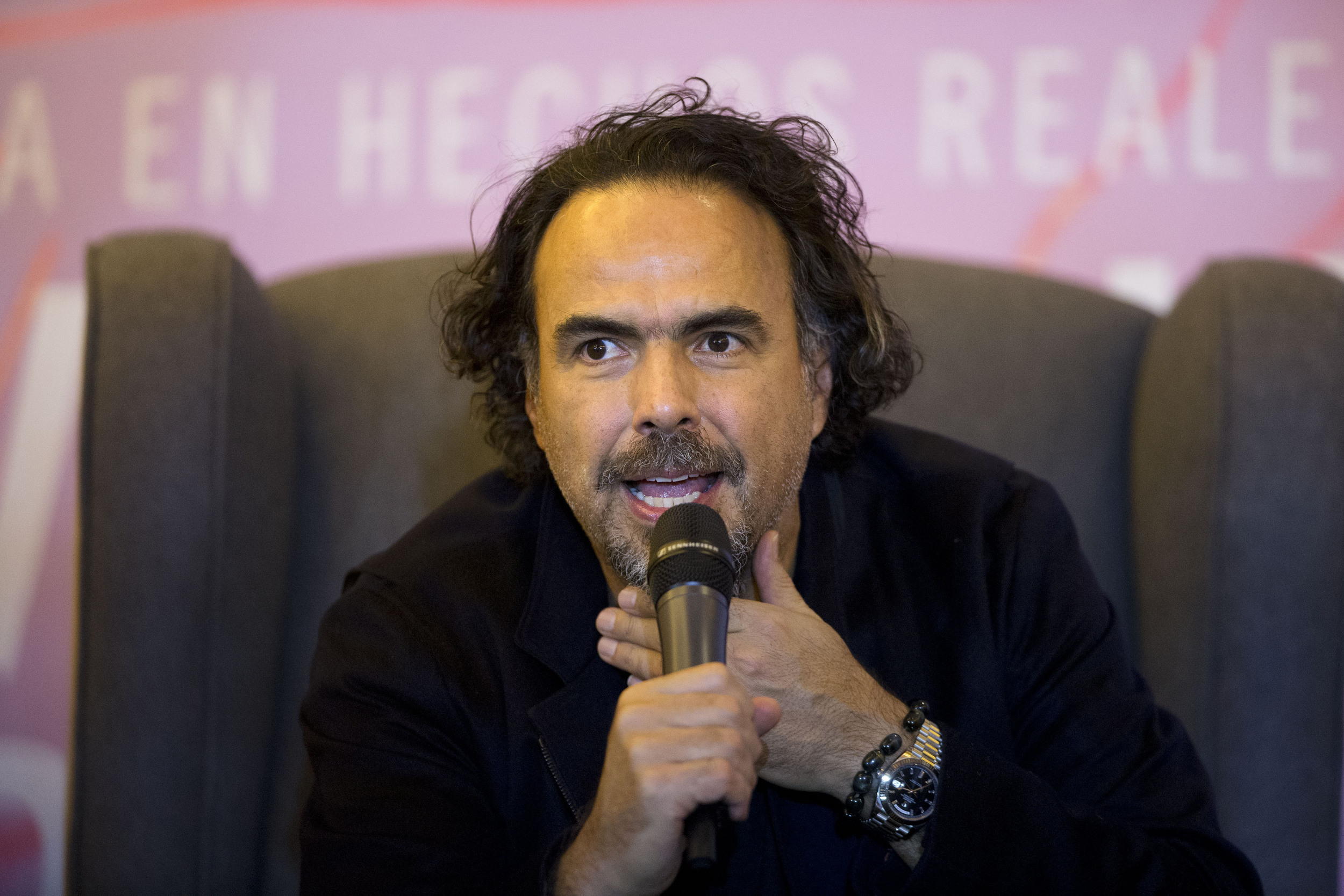 """Mexican director Alejandro Gonzalez Inarritu answers questions during a press event to promote his new film """"The Revenant,"""" in Mexico City, Tuesday, Jan. 26, 2016. (Rebecca Blackwell/AP)"""