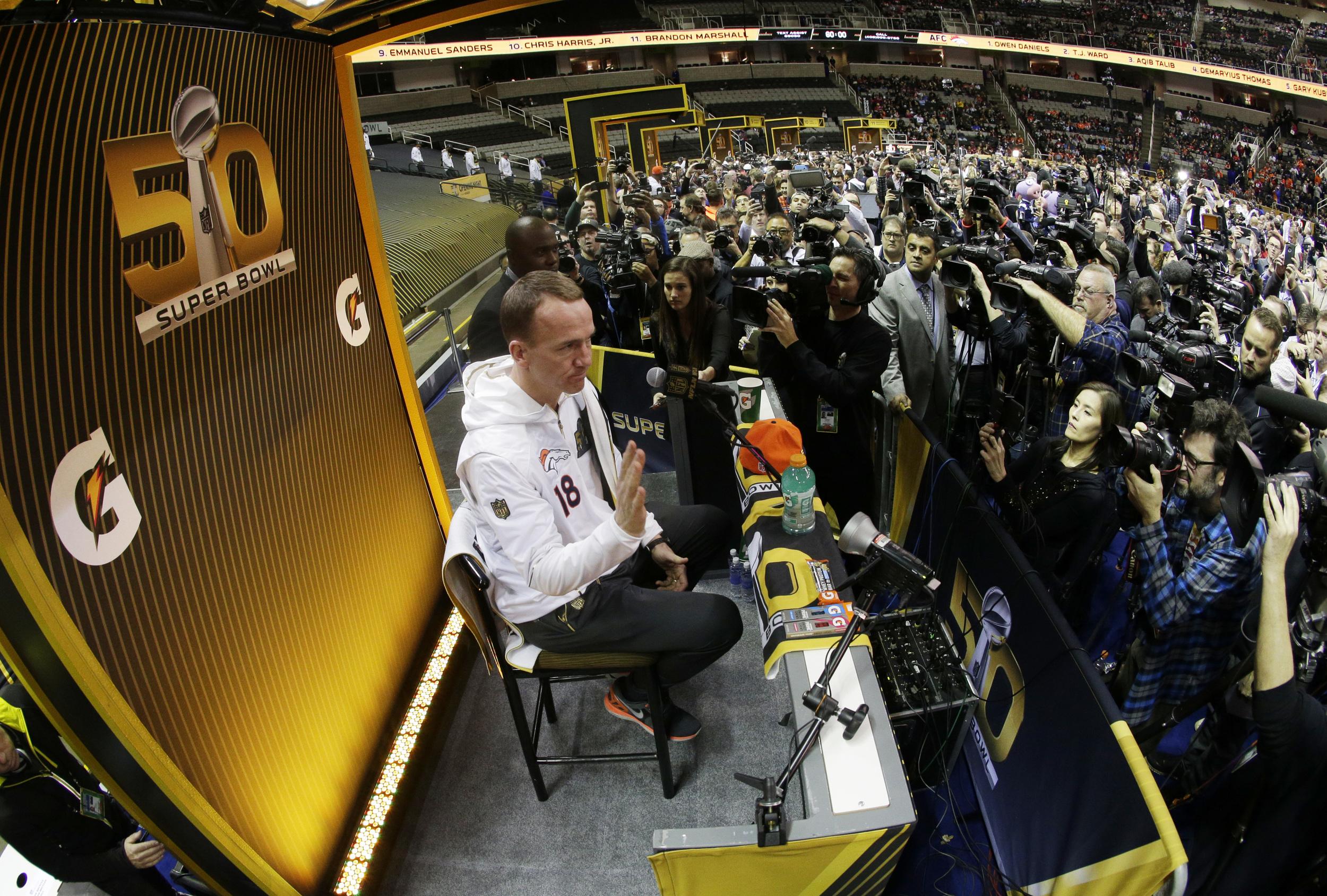 Denver Broncos quarterback Peyton Manning speaks to the media during Opening Night for the NFL Super Bowl 50 football game Monday, Feb. 1, 2016, in San Jose, Calif. (Charlie Riedel/AP)