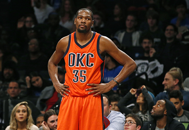 Oklahoma City Thunder forward  Kevin   Durant  (35) reacts in the second half of an NBA basketball game against the Brooklyn Nets, Sunday, Jan. 24, 2016, in New York.  Durant  had 32 points but the Nets upset the Thunder 116-106. (AP Photo/Kathy Willens)
