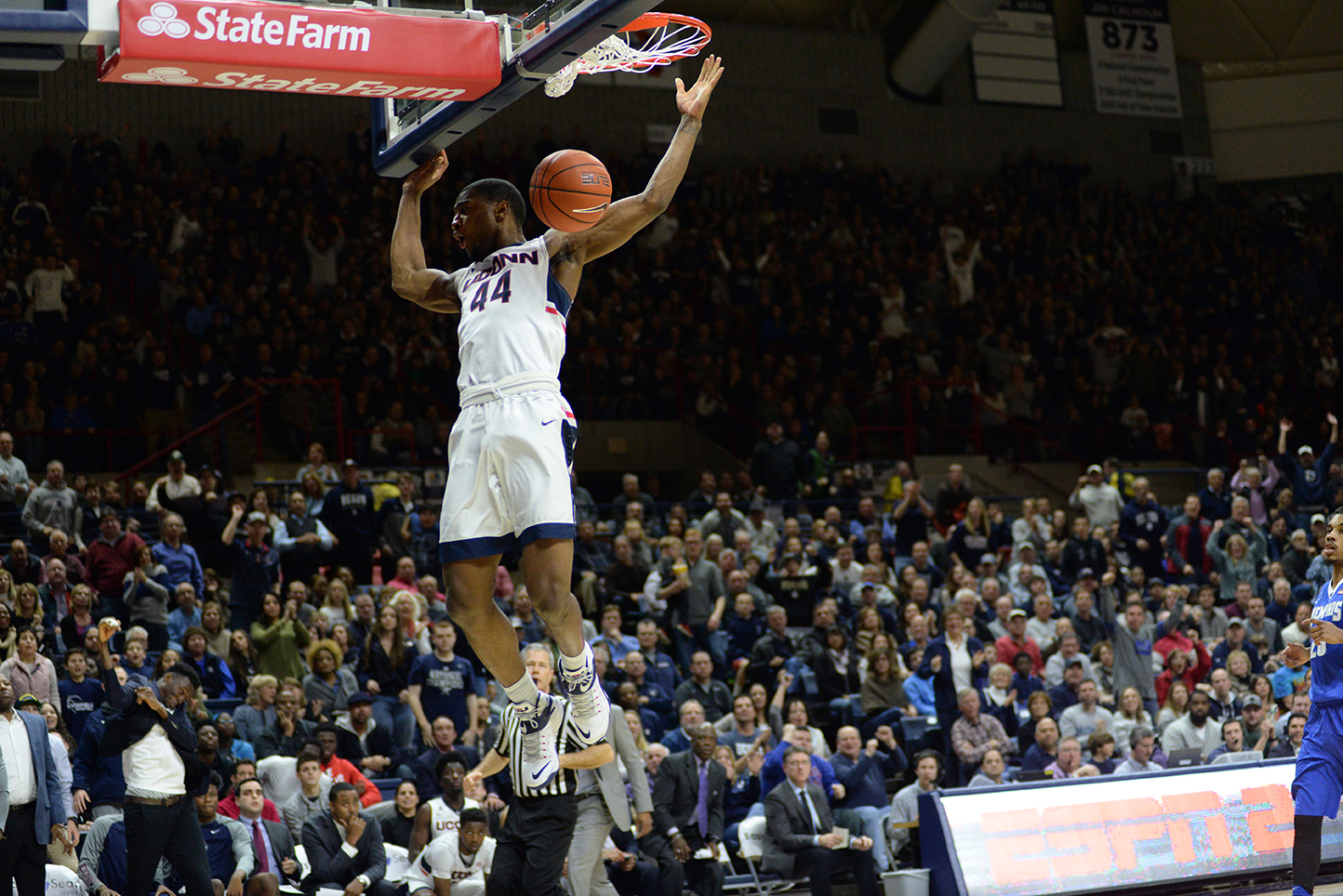 Guard Rodney Purvis soars in for a dunk during UConn's 81-78 win over Memphis at Gampel Pavilion on Jan. 9, 2016. The Huskies will take on the Tigers on Thursday. (Ashley Maher/The Daily Campus)