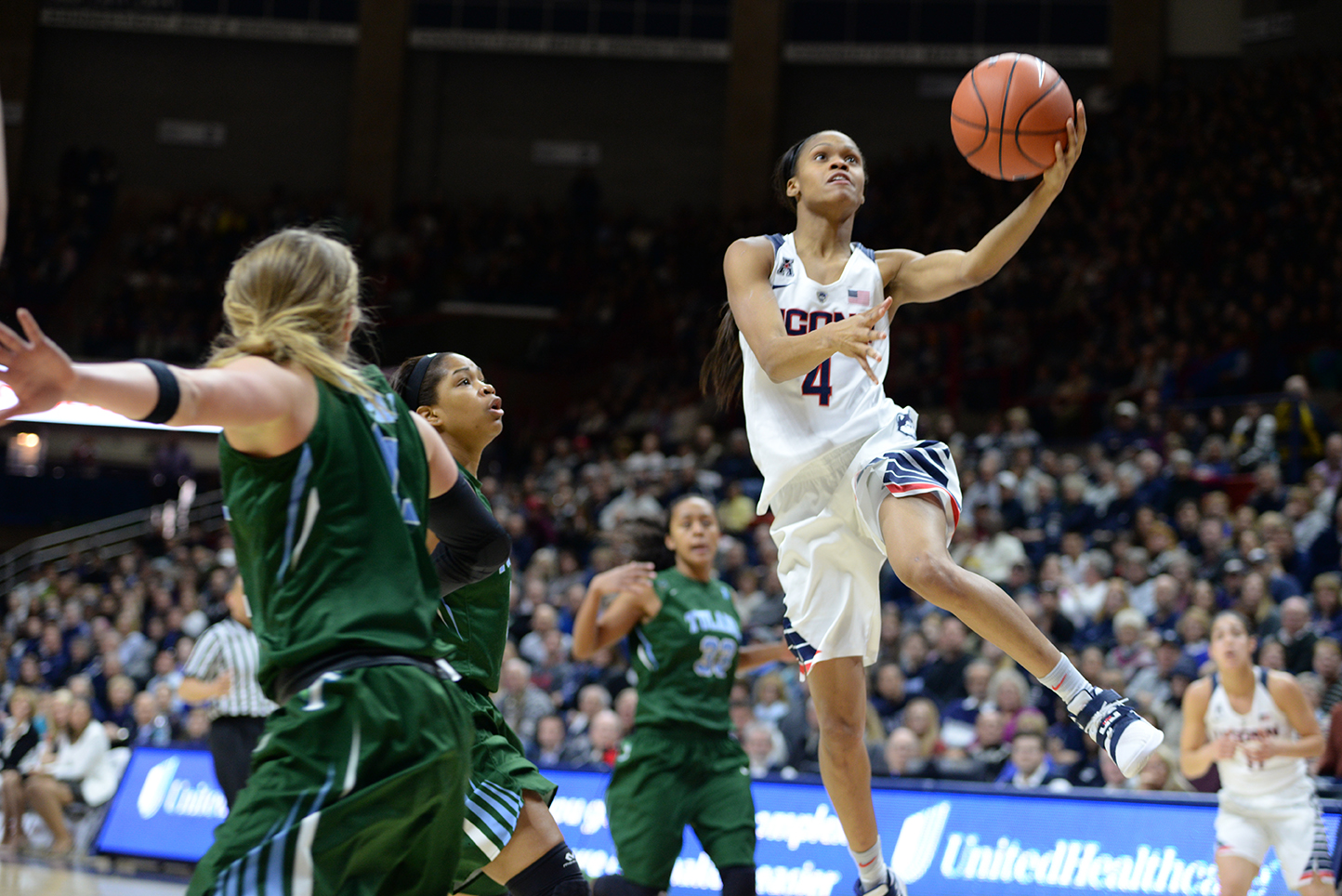 Guard Moriah Jefferson goes up for a layup during UConn's 80-40 victory over Tulane at Gampel Pavilion on Saturday Feb. 27, 2016. Jefferson, along with Breanna Stewart, Morgan Tuck, and Briana Pulido, was honored pregame during a Senior Day celebration. (Amar Batra/The Daily Campus)