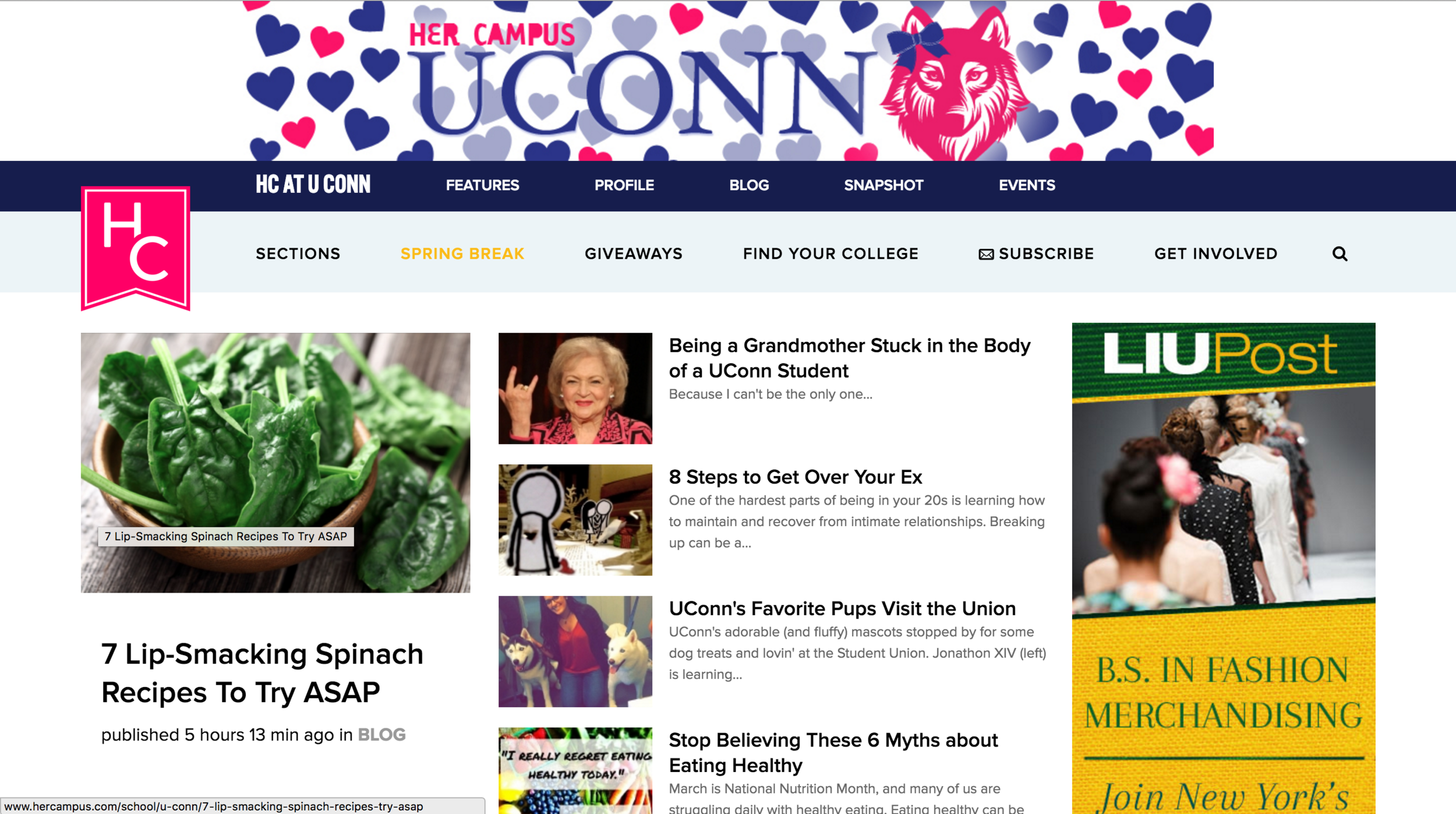 Her Campus UConn provides magazine writing, event coverage