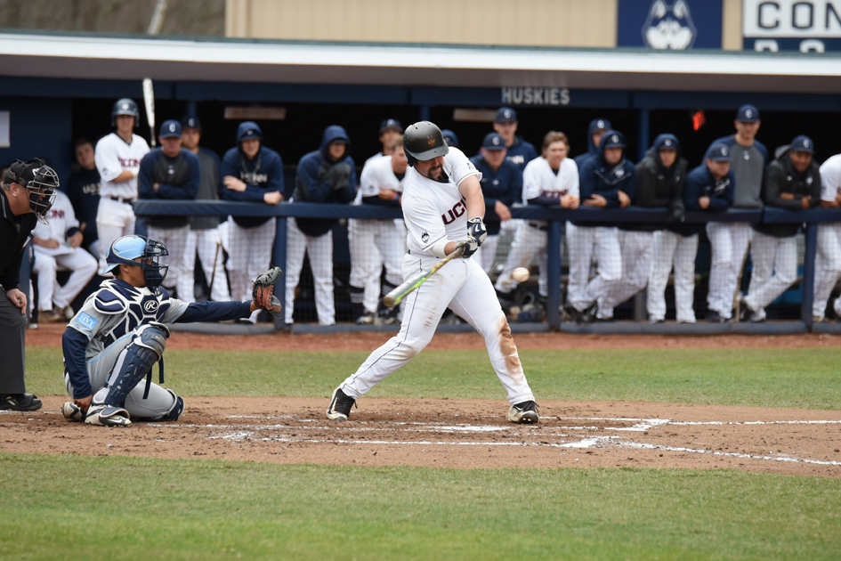 Joe DeRoche-Duffin takes a swing during UConn's game against Columbia at J.O. Christian Field on March 26, 2016. On Tuesday, UConn defeated Boston College 9-4. (Zhelun Lang/The Daily Campus)