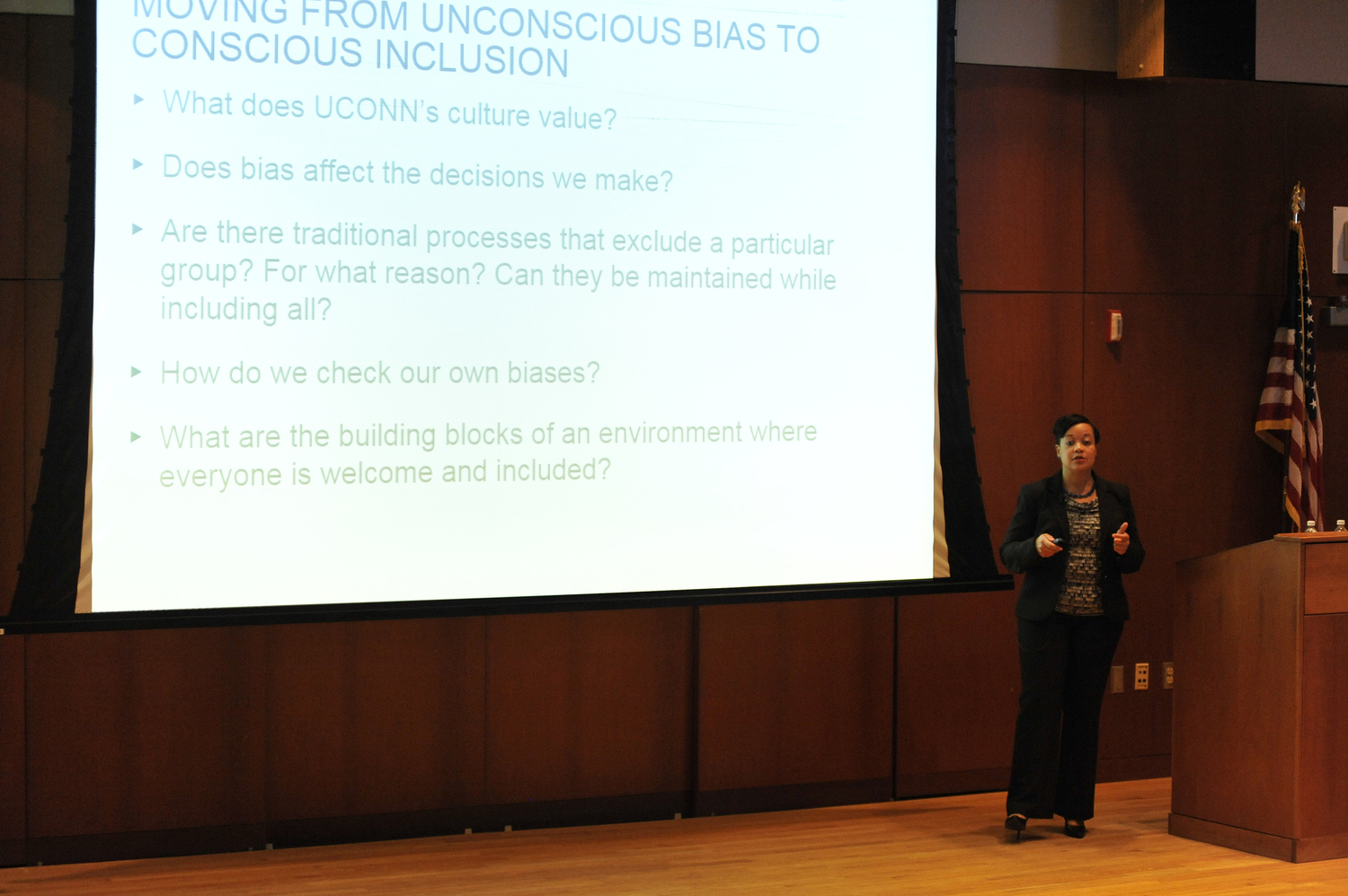Joelle Murchison, currently vice president of enterprise diversity and inclusion at Travelers Insurance Company, speaks during her presentation for Chief Diversity Officer in the Thomas J. Dodd Research Center's Konover Auditorium in Storrs, Connecticut on Monday, Feb. 29, 2016. Murchison official hiring was announced at the Board of Trustees meeting on Wednesday, March 30, 2016.(Jason Jiang/The Daily Campus)