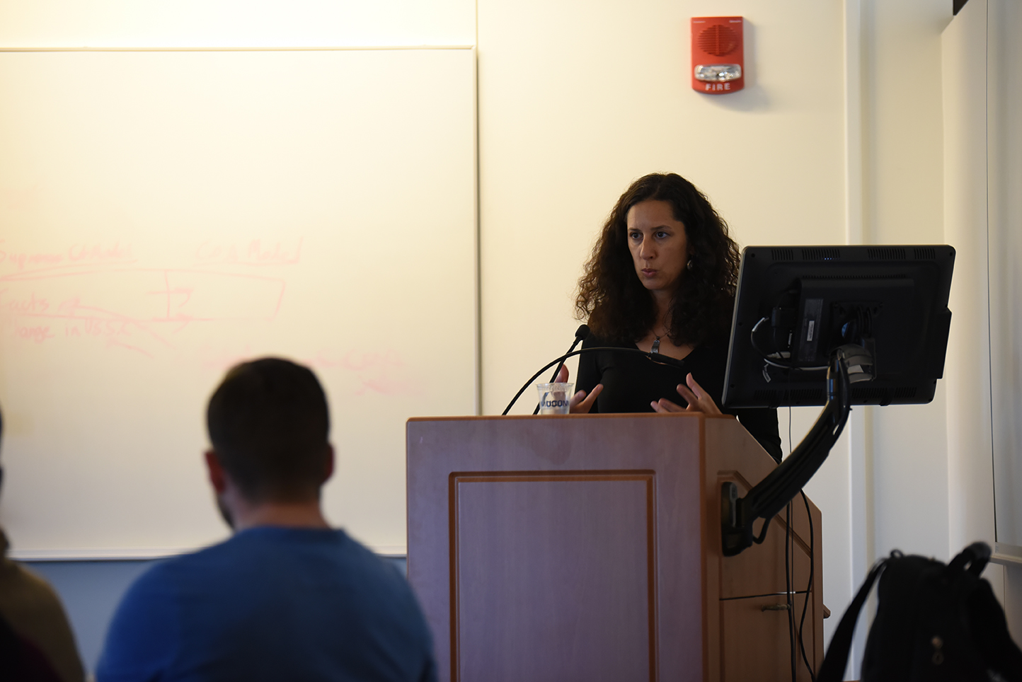 Nadje Al-Ali, the gender studies professor of the University of London is giving a presentation on her recent research on peace and gender in Turkey on Thursday April 14, 2016.(Zhelun Lang/The Daily Campus)