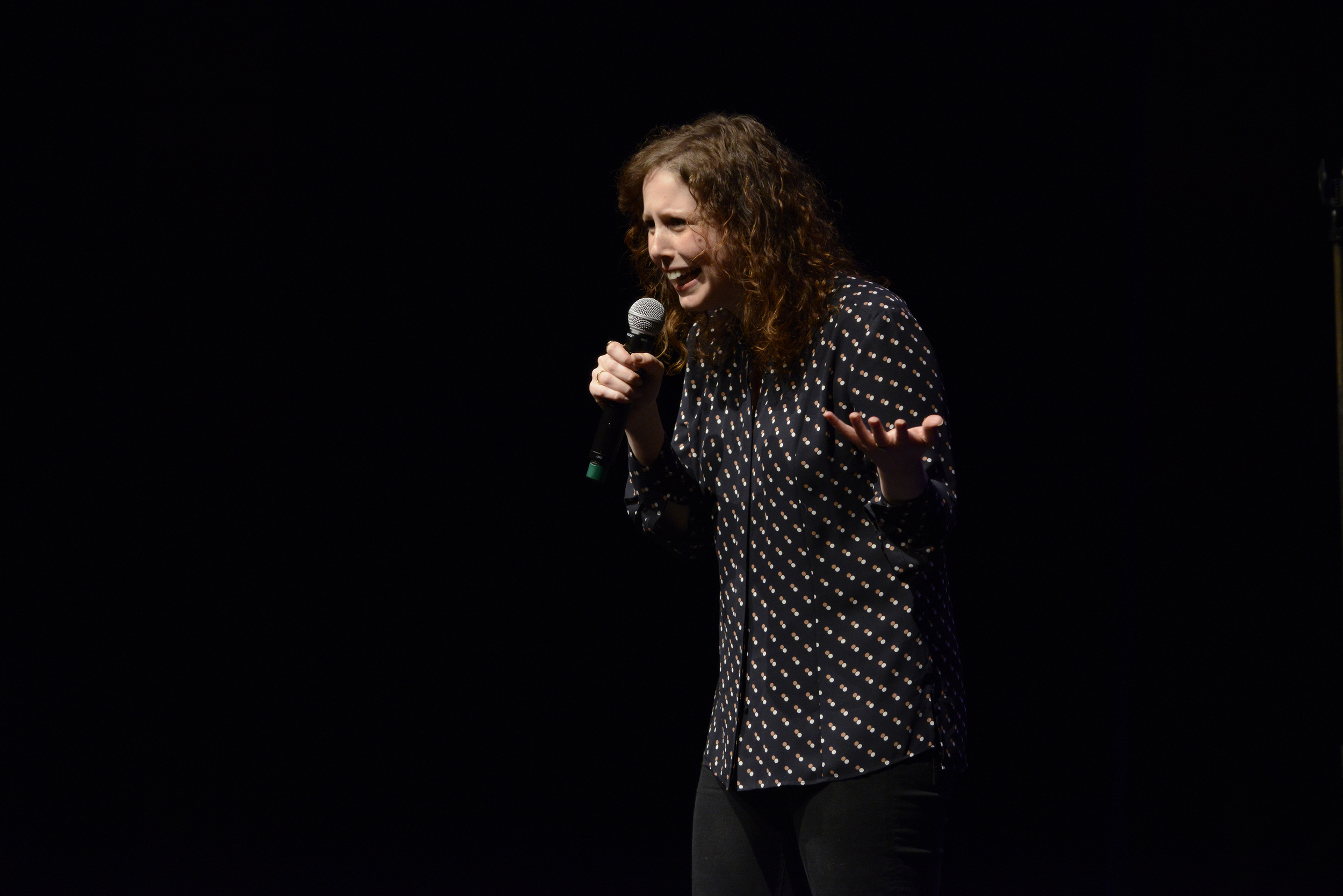 """Comedian Vanessa Bayer,a regular cast member on """"Saturday Night Live,"""" performs during a Spring Weekend comedy show in the Jorgensen Center for the Performing Arts in Storrs, Connecticut on Friday, April 22, 2016. (Jason Jiang/The Daily Campus)"""