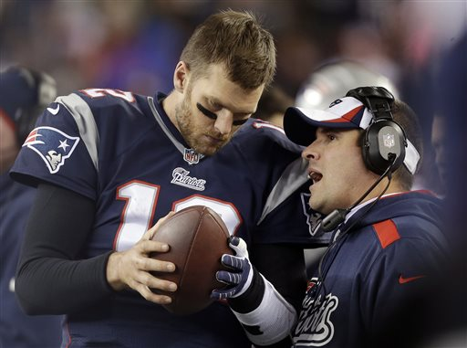 "FILE - In this Nov. 3, 2013, file photo, New England Patriots offensive coordinator Josh McDaniels, right, talks to quarterback Tom Brady during the fourth quarter of an NFL football game against the Pittsburgh Steelers in Foxborough, Mass. A federal appeals court has ruled, Monday, April 25, 2016, that New England Patriots Tom Brady must serve a four-game ""Deflategate"" suspension imposed by the NFL, overturning a lower judge and siding with the league in a battle with the players union. (AP Photo/Steven Senne, File)"