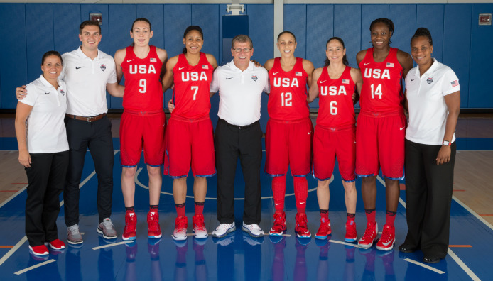 The former Huskies of Team USA basketball, left to right: Breanna Stewart, Maya Moore, Diana Taurasi, Sue Bird and Tina Charles. UConn head coach Geno Auriemma will be serving as head coach of Team USA. (Photo courtesy of UConn Athletics)