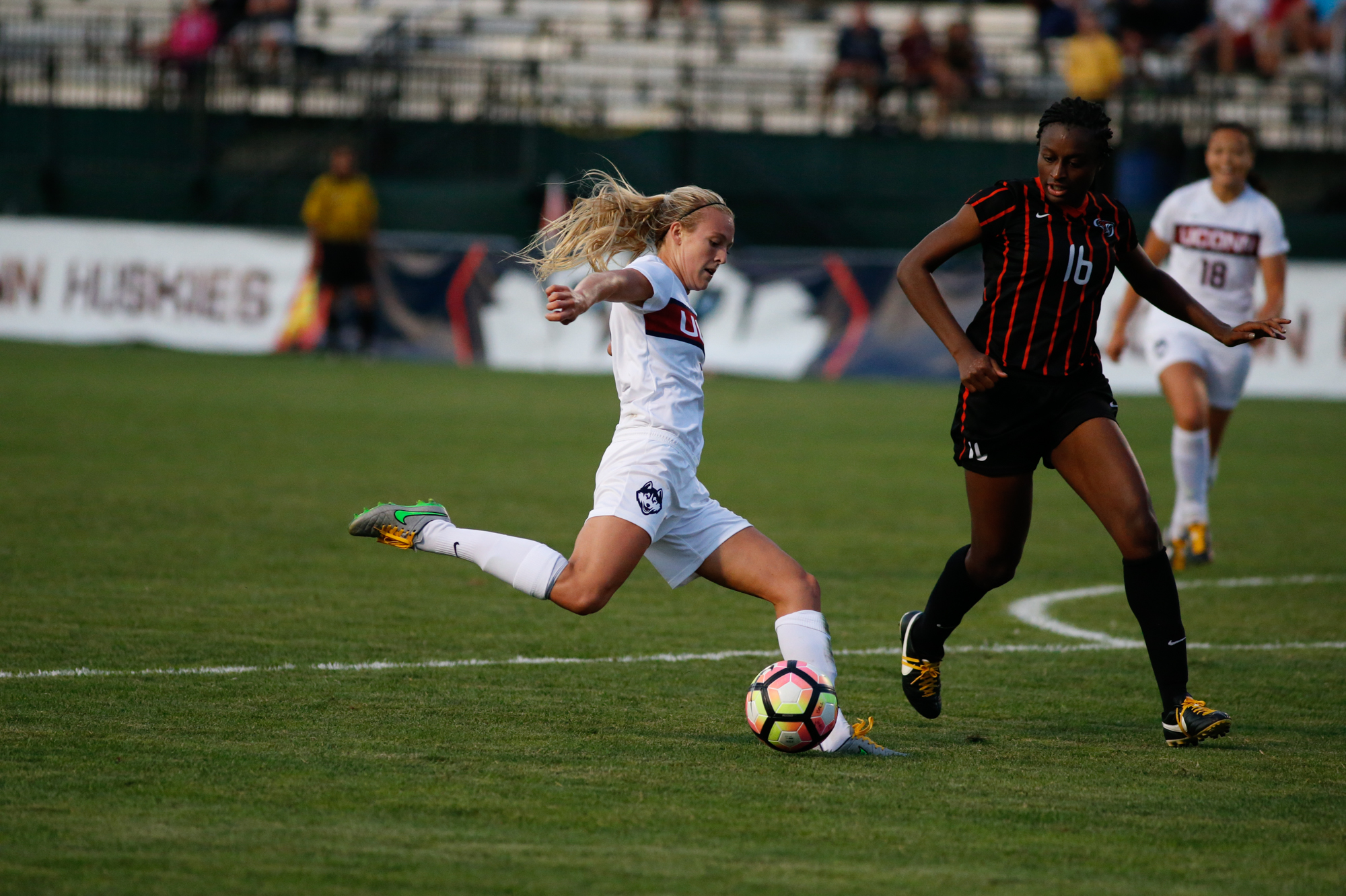 Senior forward Rachel Hill drives past a defender during the Huskies victory over Pacific on Friday, Sept. 2. (Tyler Benton/The Daily Campus)