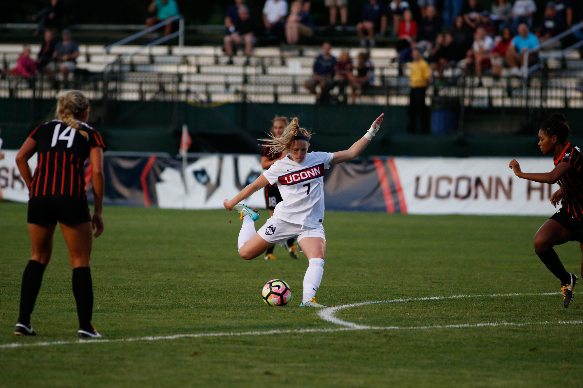 Senior forward Maddie Dam lines up a shot during the Huskies 1-0 victory over Pacific on Saturday, Sept. 2. The Huskies will host Stony Brook at Morrone Stadium on Sunday, Sept. 11.
