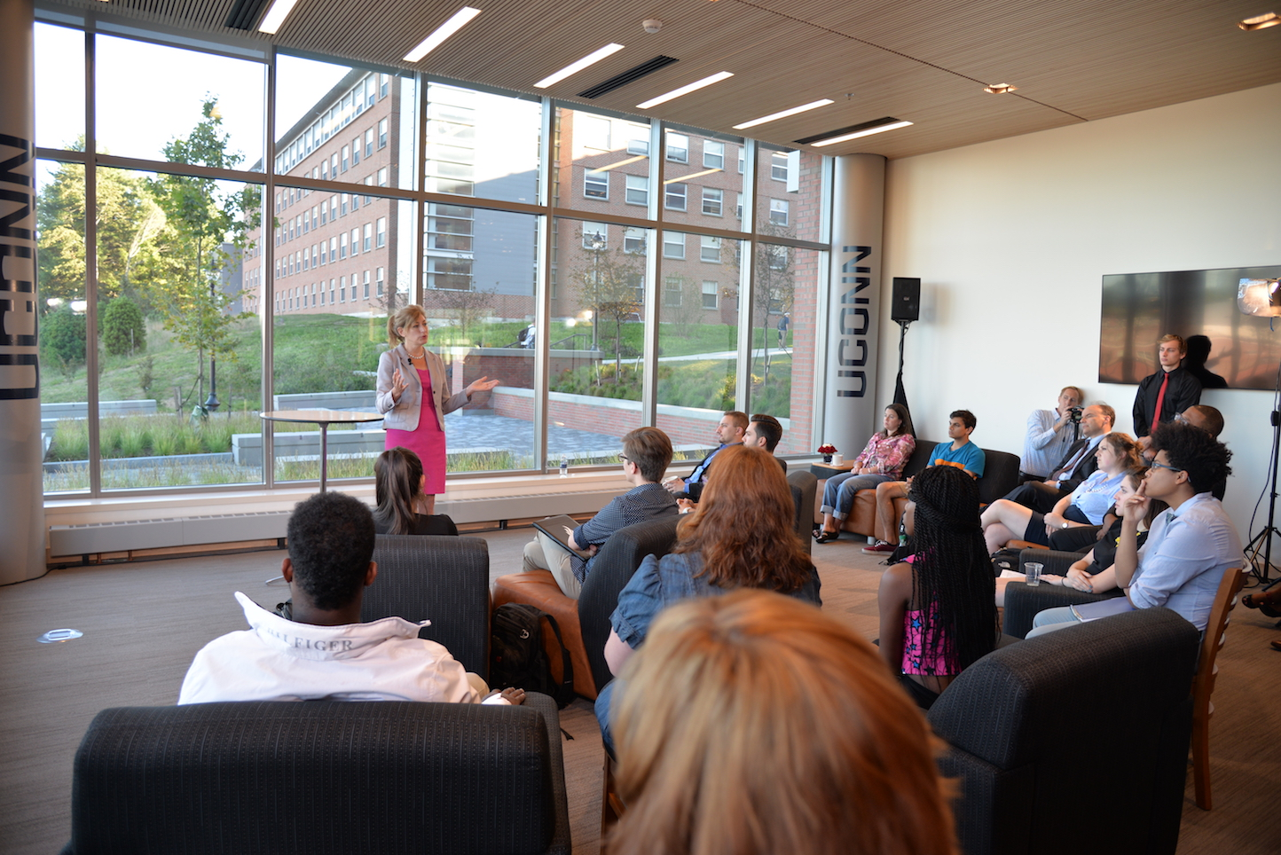 Susan Herbst held an open town hall in the Next Gen Dorm to field questions from the community of Monday evening. (Amar Batra/The Daily Campus)