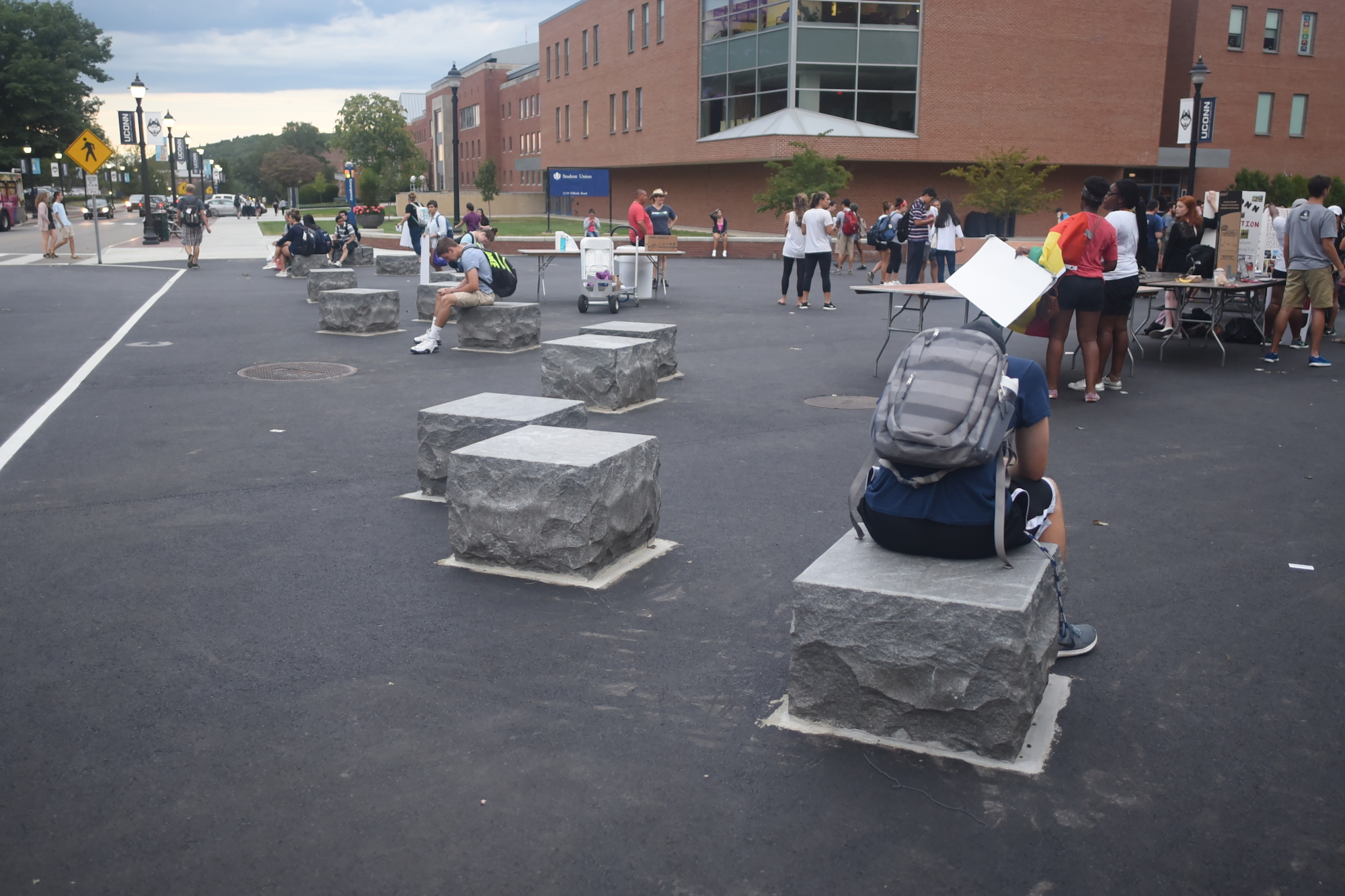 The sidewalk area near the Student Union is now concrete instead of brick, due to the infrastructure completed over the summer. (Zhelun Lang/The Daily Campus)
