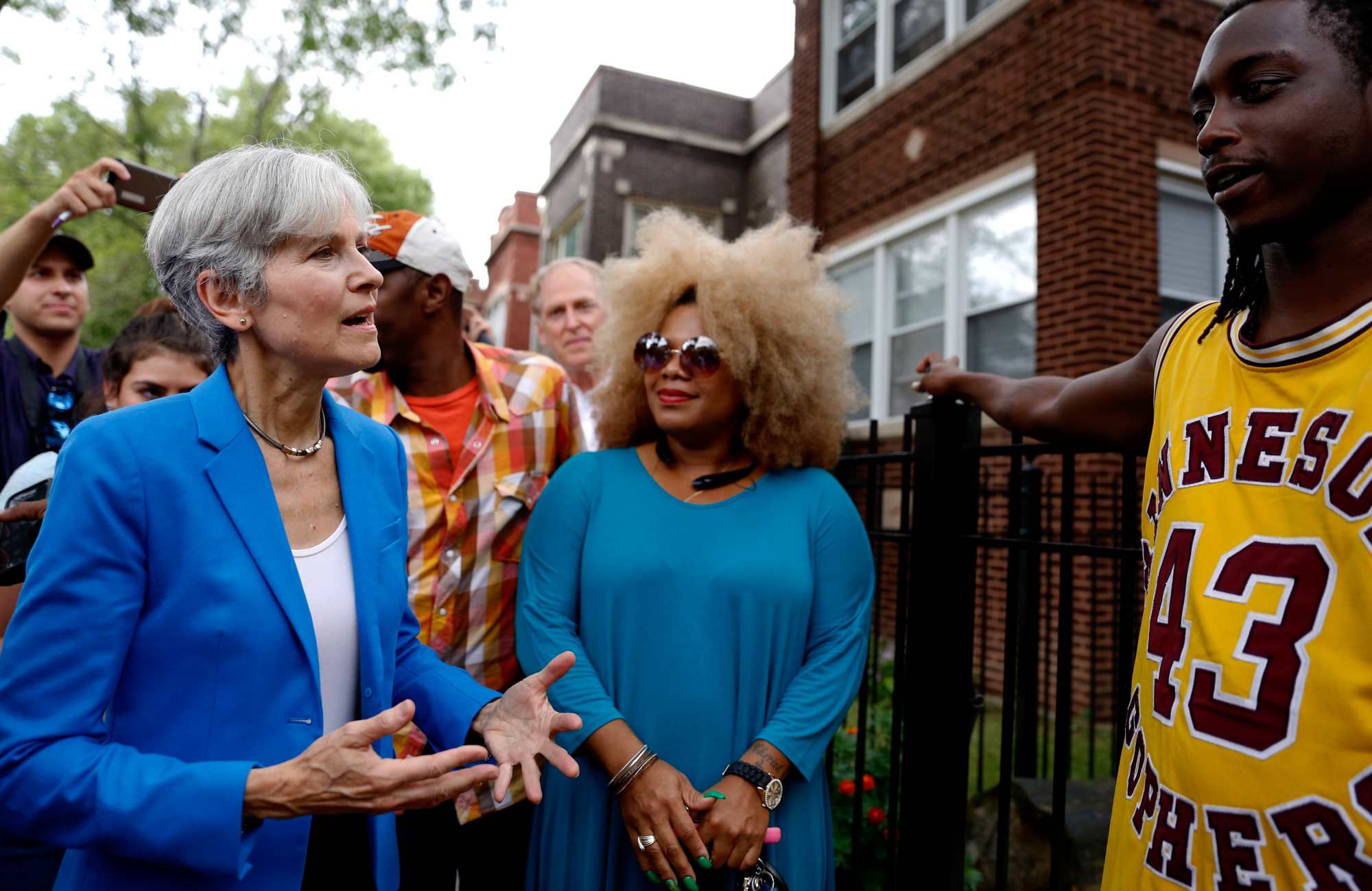 Green Party presidential candidate Jill Stein talks to South Austin neighborhood residentsThursday, Sept. 8, 2016, in Chicago. (Tae-Gyun Kim/AP)