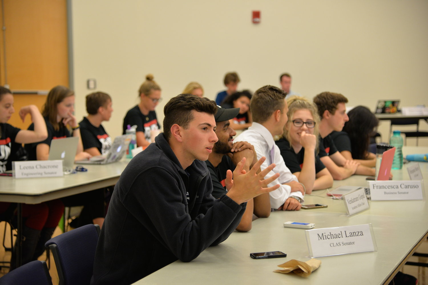 Members of USG, pictured here at the first meeting of the year on Wednesday, August, 31 in the Student Union Ballroom, passed two amendments tonight that had been awaiting referendum. (Amar Batra/The Daily Campus).