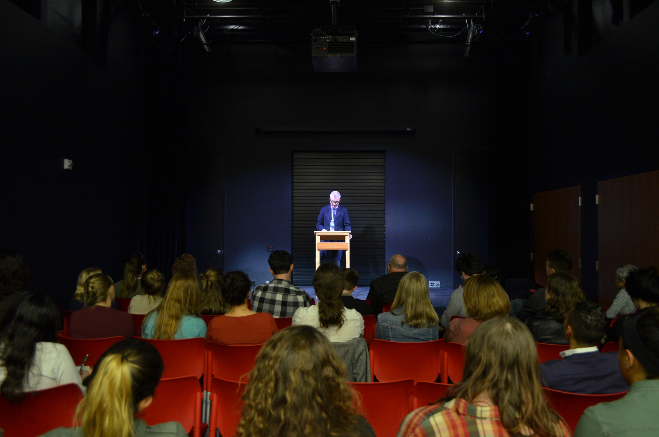 Poet and writer Joshua Mehigan reads a selection of his poems at the UConn Bookstore in Storrs Center before opening up the floor for discussion on his writing process on Thursday, Sept. 30, 2016. (Akshara Thejaswi/The Daily Campus)