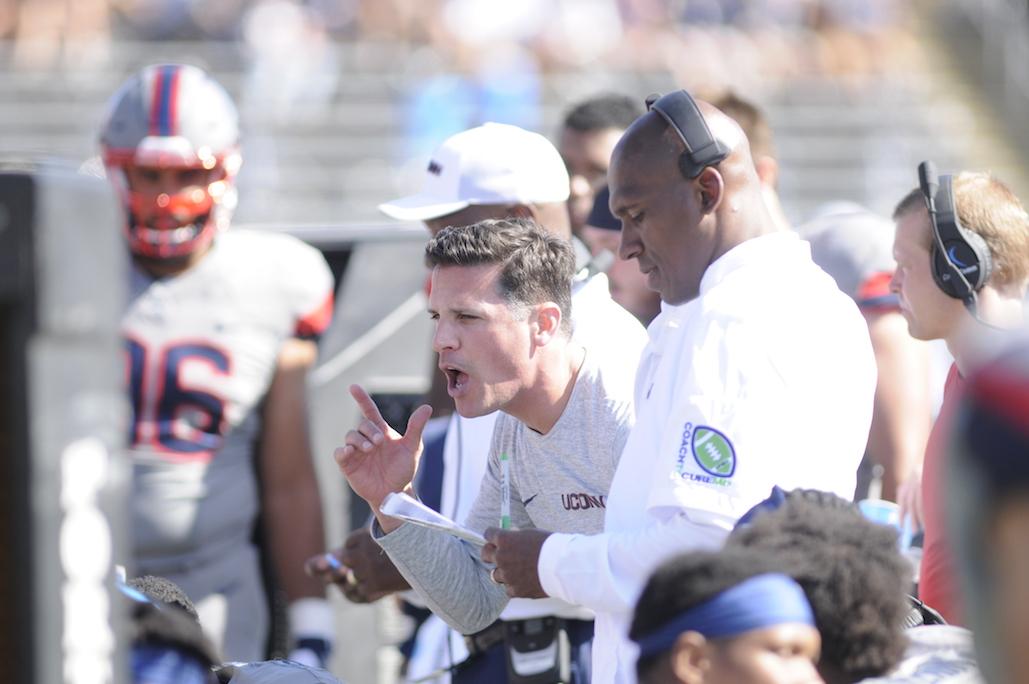 Head coach Bob Diaco in a game against Syracuse. (Jackson Haigis/The Daily Campus)