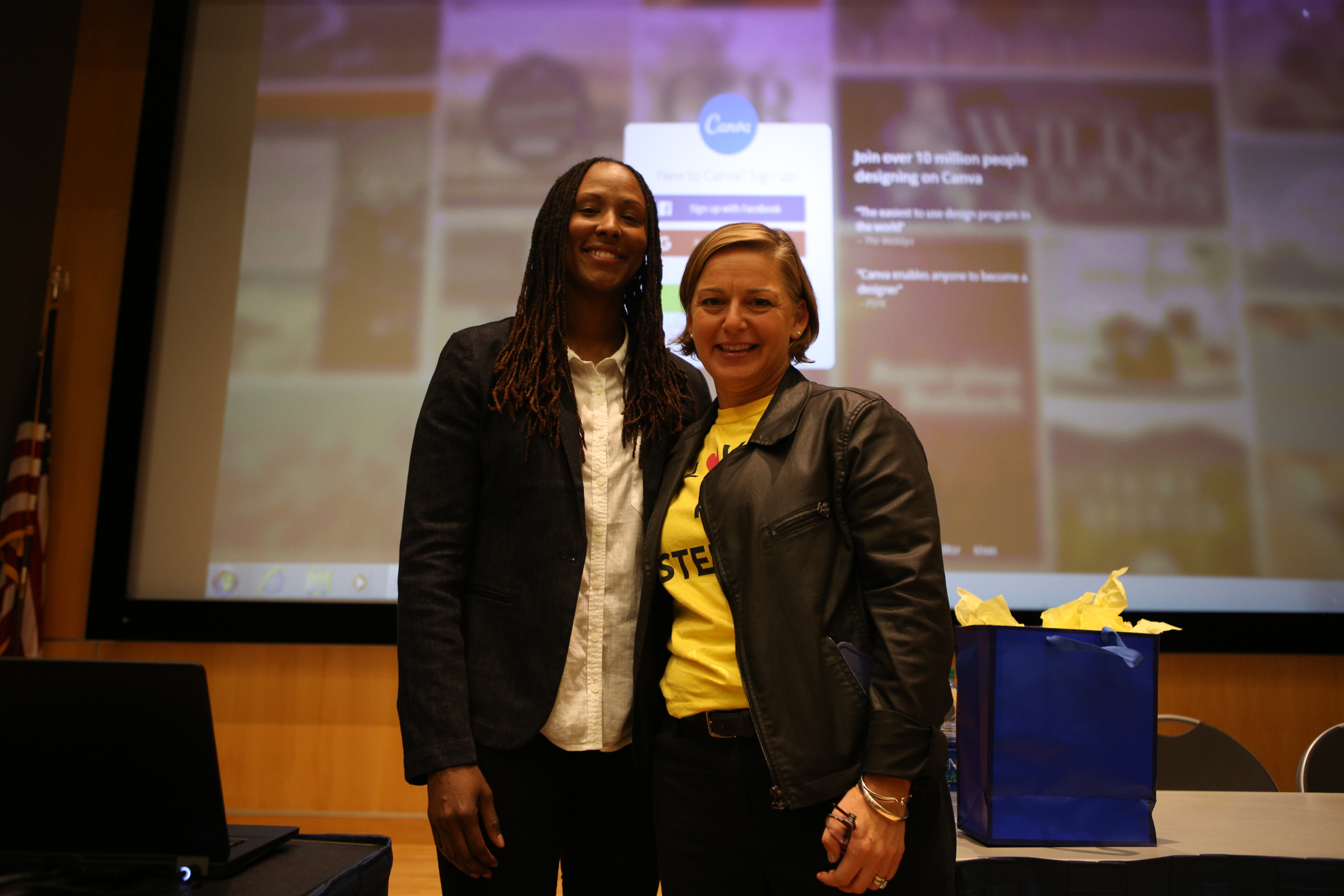 Keynote speaker Chamique Holdsclaw shares her experience with depression and suicide on Wednesday, Sept. 28, 2016 in the Student Union Theater. (Junbo Huang/The Daily Campus)