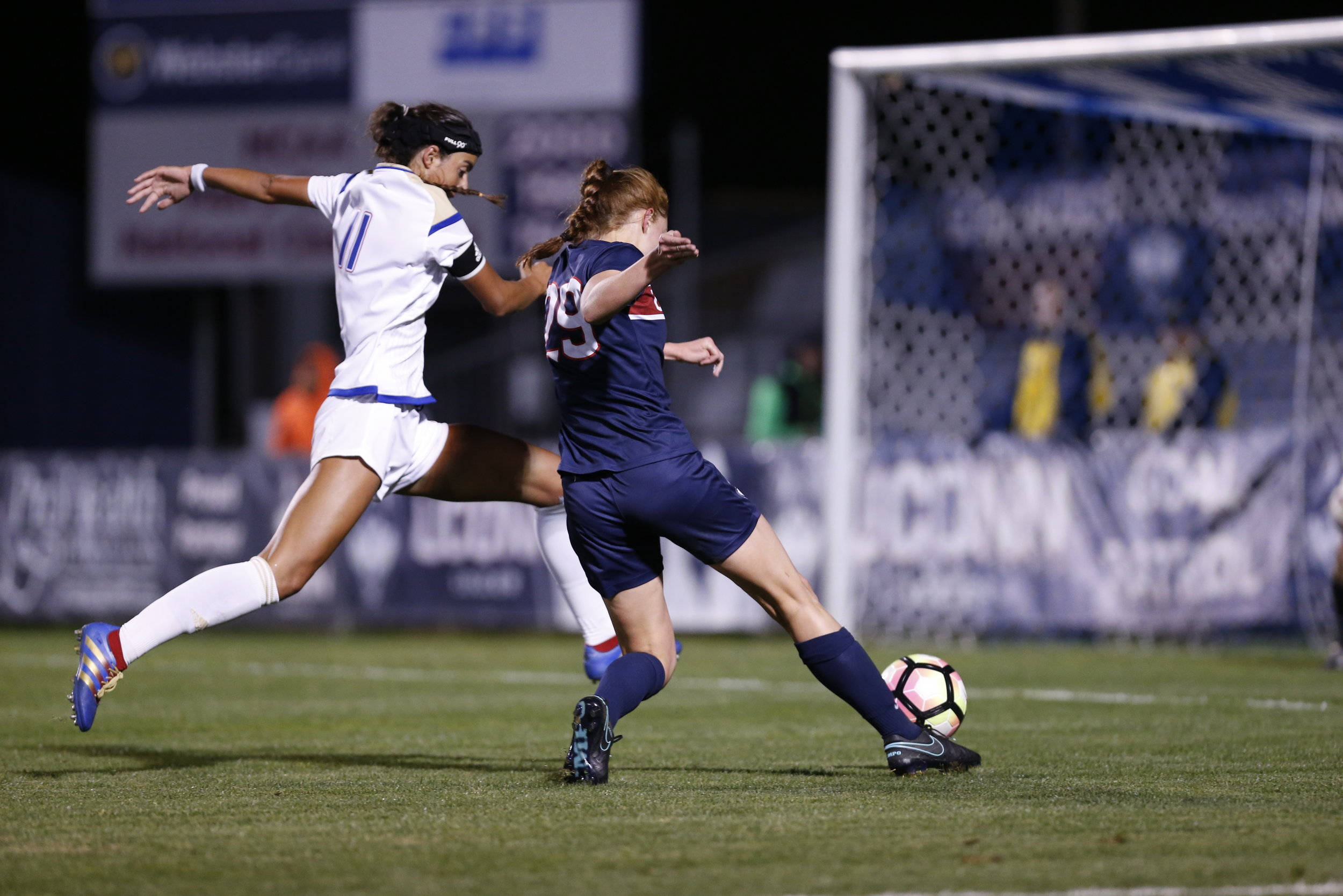 Junior forward Tanya Altrui dribbles the ball past a Tulsa defender during a 4-2 win on Thursday, Sept. 29 at Morrone Stadium. The Huskies were powered by early and late goals in the games to keep the lead the whole time. (Tyler Benton/The Daily Campus)