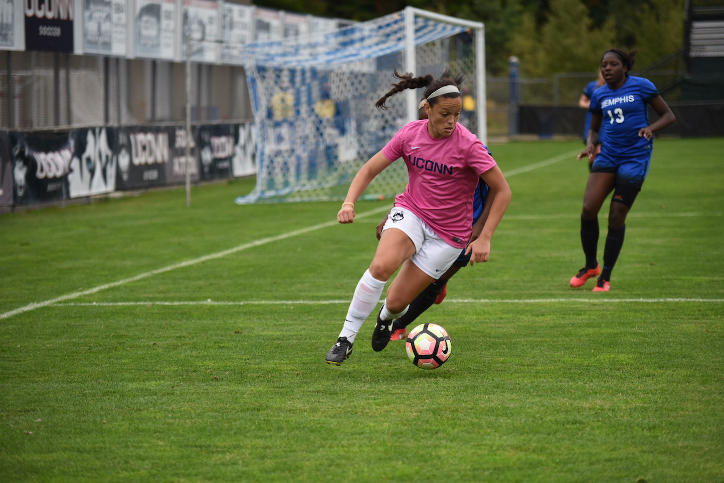 Stephanie Ribeiro (#18) battles for possession in UConn's 4-0 win over Memphis on Oct. 4, 2016 at Joseph J. Morrone Stadium. The Huskies beat Houston 1-0 on Sunday, Oct. 9, 2016.