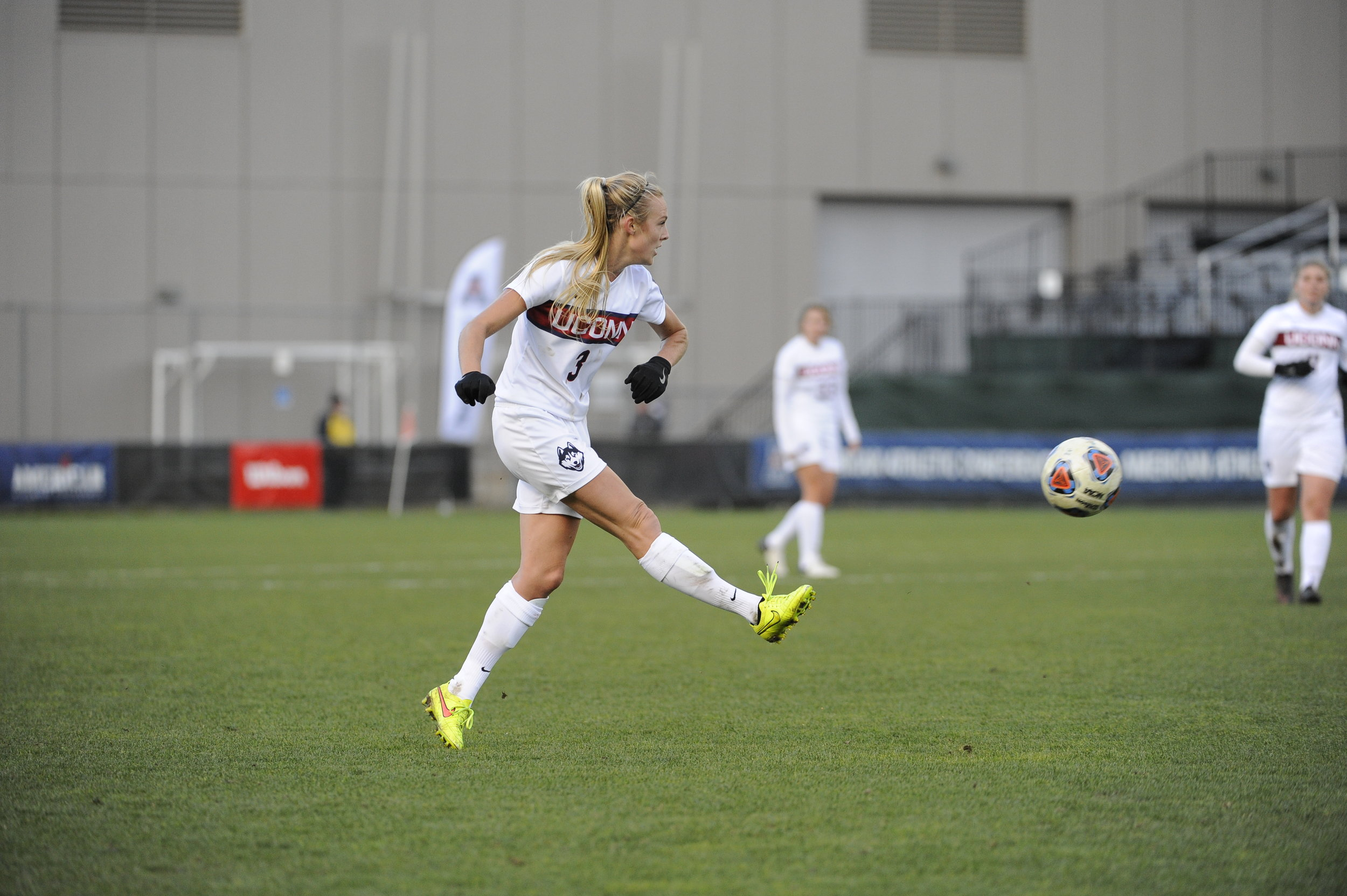 Senior forward/midfielder Rachel Hill kicks the ball during a 1-0 win over SMU in the conference finals on Sunday, Nov. 6 at Joseph J. Morrone Stadium. Hill was named the most outstanding offensive player for the tournament. (Jason Jiang/The Daily Campus)