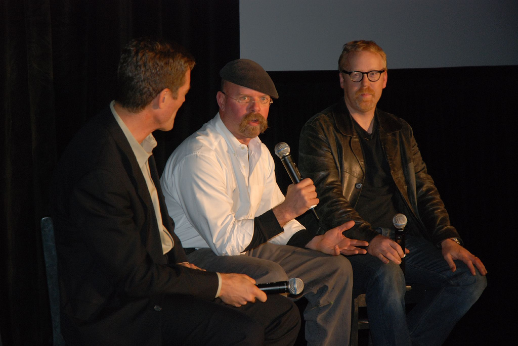 """Jamie Hyneman (left) and Adam Savage (right) from Discovery Channel's """"MythBusters,"""" pictured here in San Francisco in 2006,came to UConn Friday, Nov. 4 to discuss science, television production, and their long-running show. Savage and Hyneman took questions from the moderator, TJ McKenna, and the audience. (Rob Lee/Flickr Creative Commons)"""