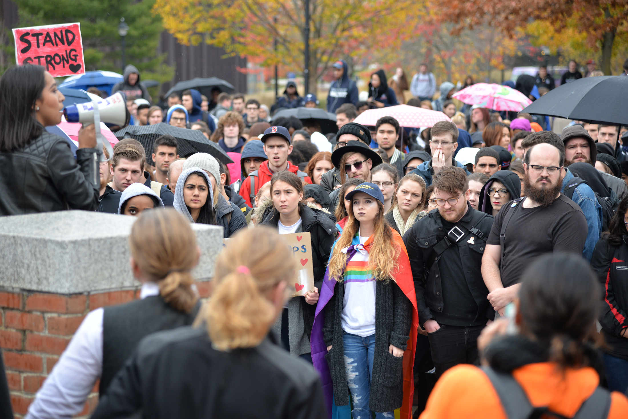 "Students participate in the ""Rally for the People"" to protest the election results on Wednesday, Nov. 9, 2016. (Amar Batra/The Daily Campus)"
