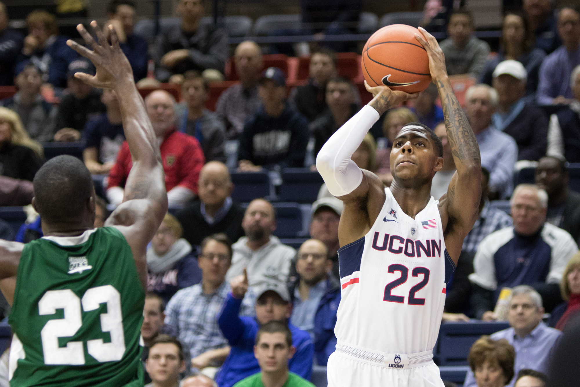 Redshirt sophomore Terry Larrier takes a shot during UConn's 67-58 loss on Friday, Nov. 11 at Gampel Pavilion. Larrier scored a team-high 19 points in his first game as a Husky. (Jackson Haigis/The Daily Campus)