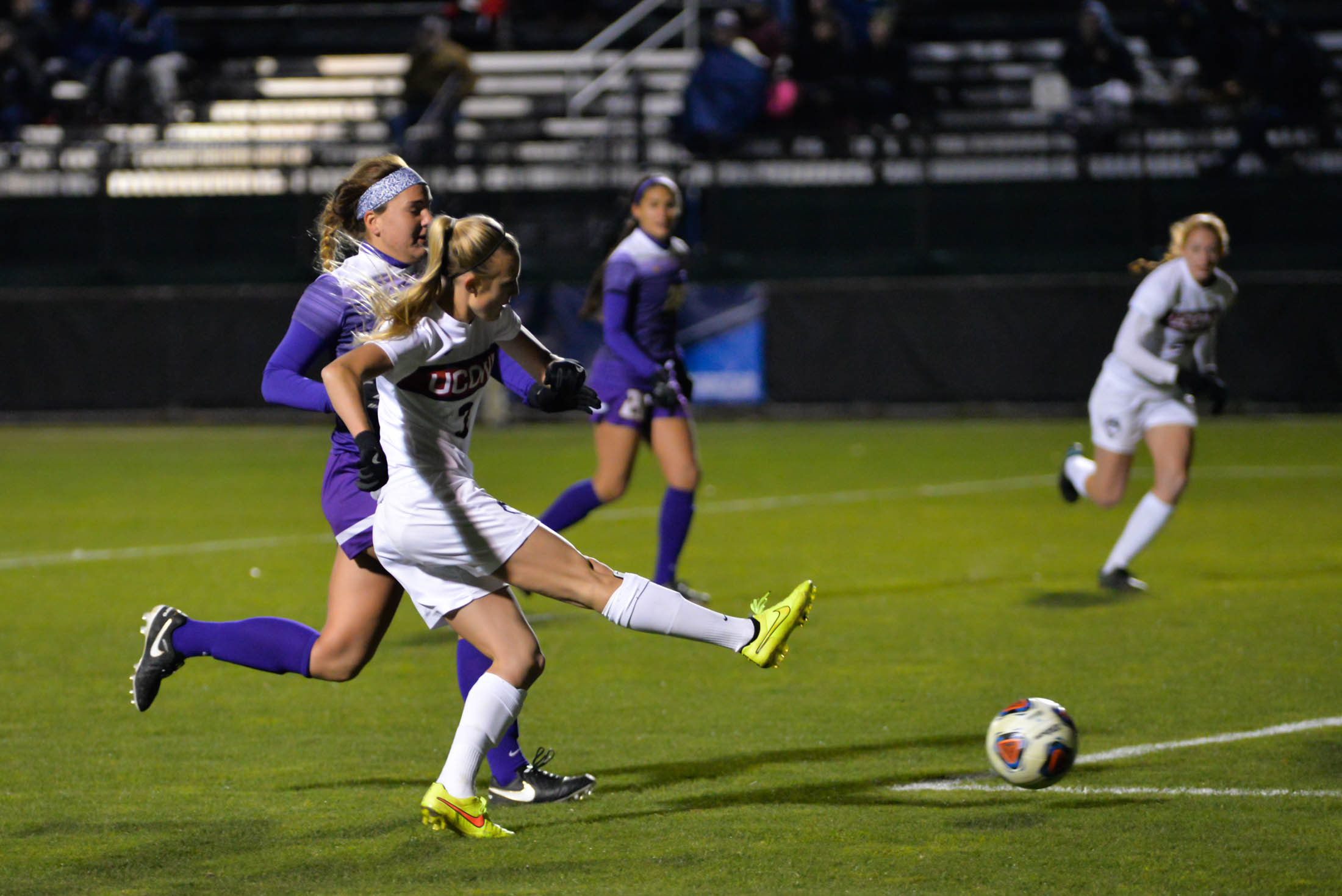 Senior midfielder Rachel Hill (3) drives in a goal during the Huskies 4-2 victory over the Great Danes during the first round of the NCAA tournament at Morrone Stadium on Saturday, Nov. 12, 2016. The goal was Hill's 16 of the season. (Amar Batra/The Daily Campus)