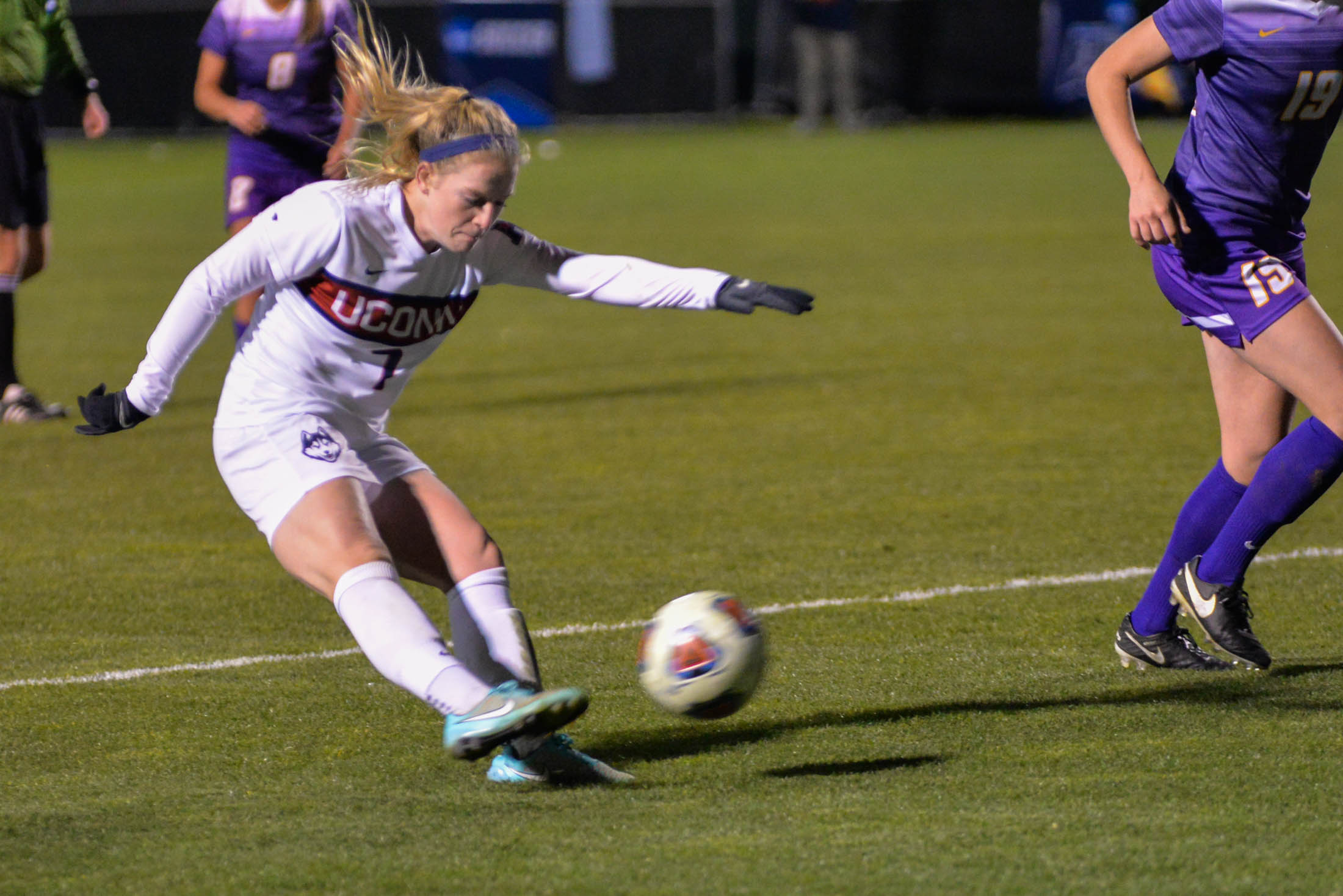UConn midfield Maddie Damm (7) fires off a goal during the Huskies 4-2 victory over the UAlbany Great Danes during the first round of the NCAA tournament on Saturday, Nov. 12, 2016. This is Damm's second goal of the season and the Huskies fourth of the game.. (Amar Batra/The Daily Campus)