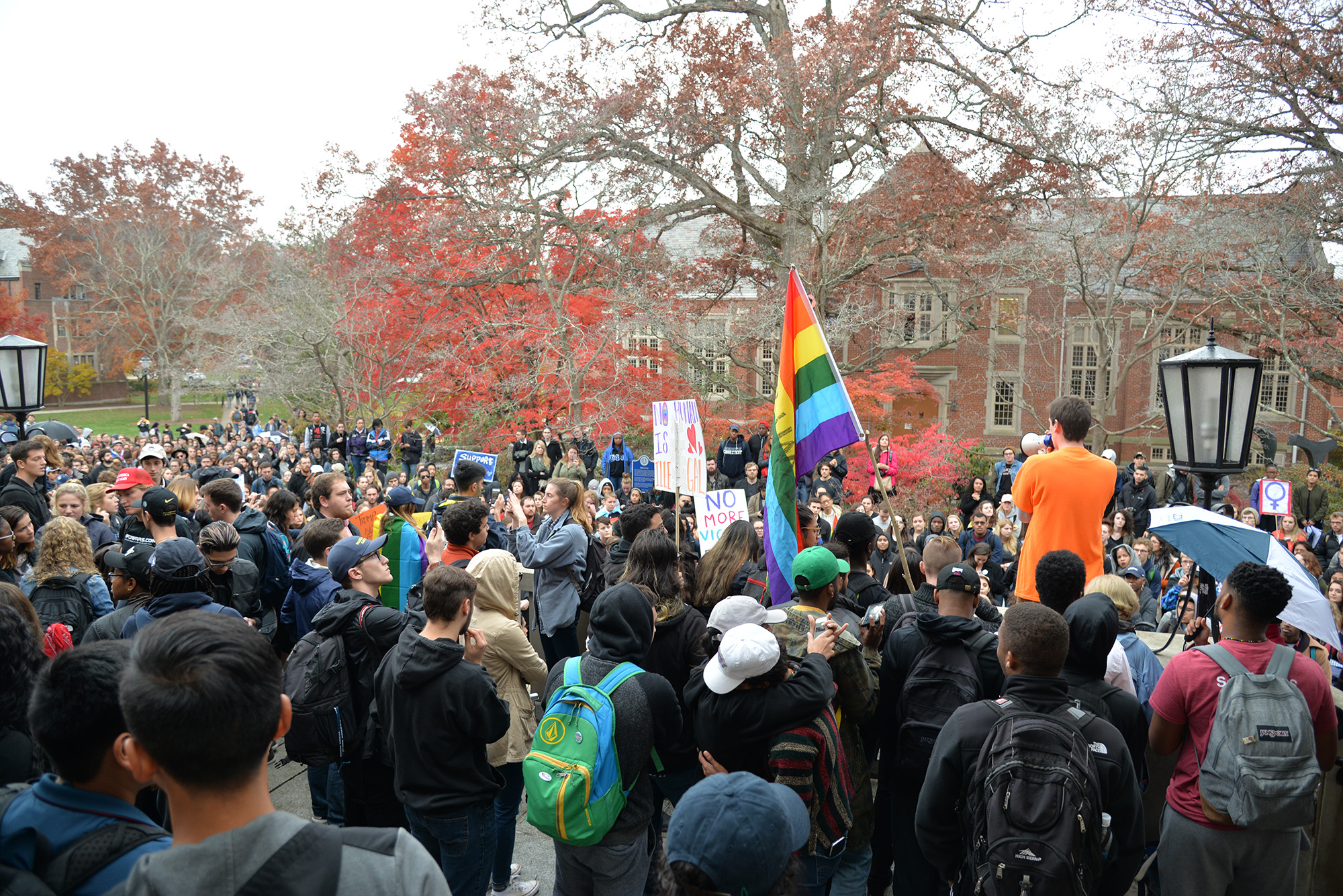 """Mr. Trump is not my President,"" was the rallying cry heard around campus on Nov. 8,2016, intermingled with emotional stories from students belonging to various minority groups on campus. Hundreds of students and other members of the UConn community gathered at Fairfield Way on Wednesday, November 9, to stage a nonviolent protest speaking out against the  controversial candidacy and surprising election of President-elect Donald J. Trump. The group started at fairfield way and marched through campus before settling in front of Wilbur Cross. (Amar Batra/ The Daily Campus)"