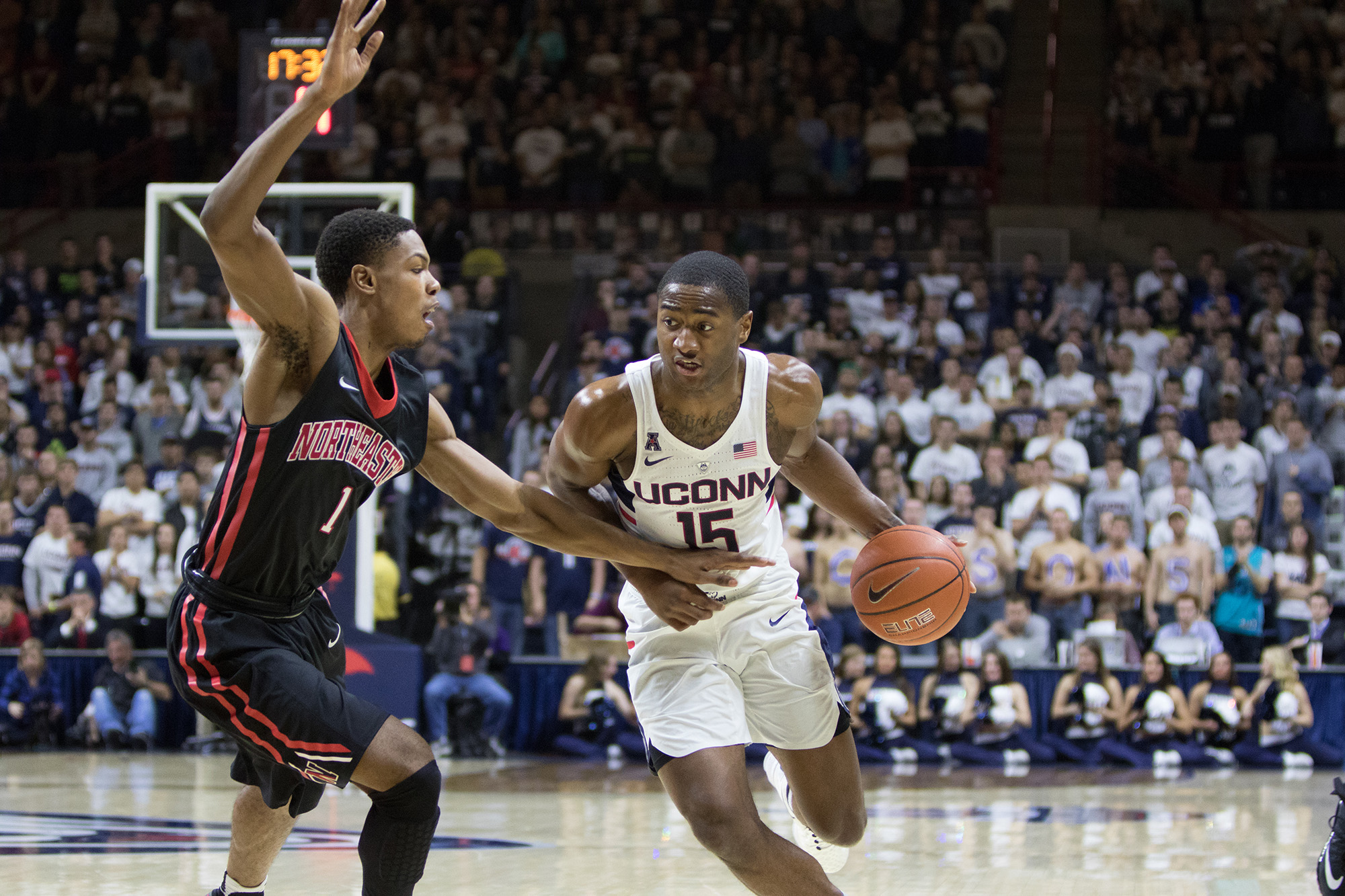 Pictured: Rodney Purvis, number 15 against Northeastern opponent. The UConn mens' basketball team fell to Northeastern 64-61 on Monday Nov. 14, 2016 at Gampel Pavilion in Storrs. Terry Larrier scored 17 points for the Huskies. (Jackson Haigis/ The Daily Campus)
