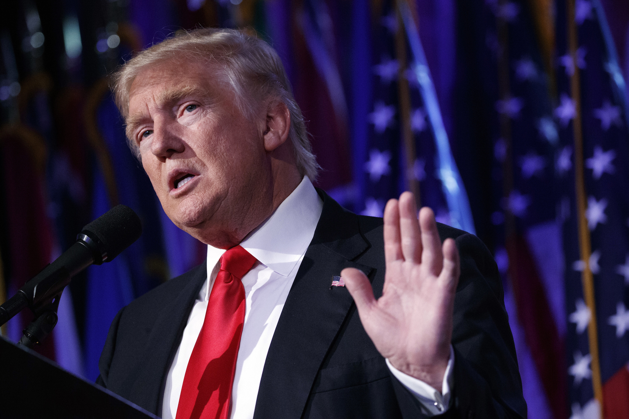 President-elect Donald Trump at an election rally on November 9th in New York. Trump is likely to stir more conflicts in the Middle East causing Americans to fight against ISIS. (Evan Vucci/AP Exchange)