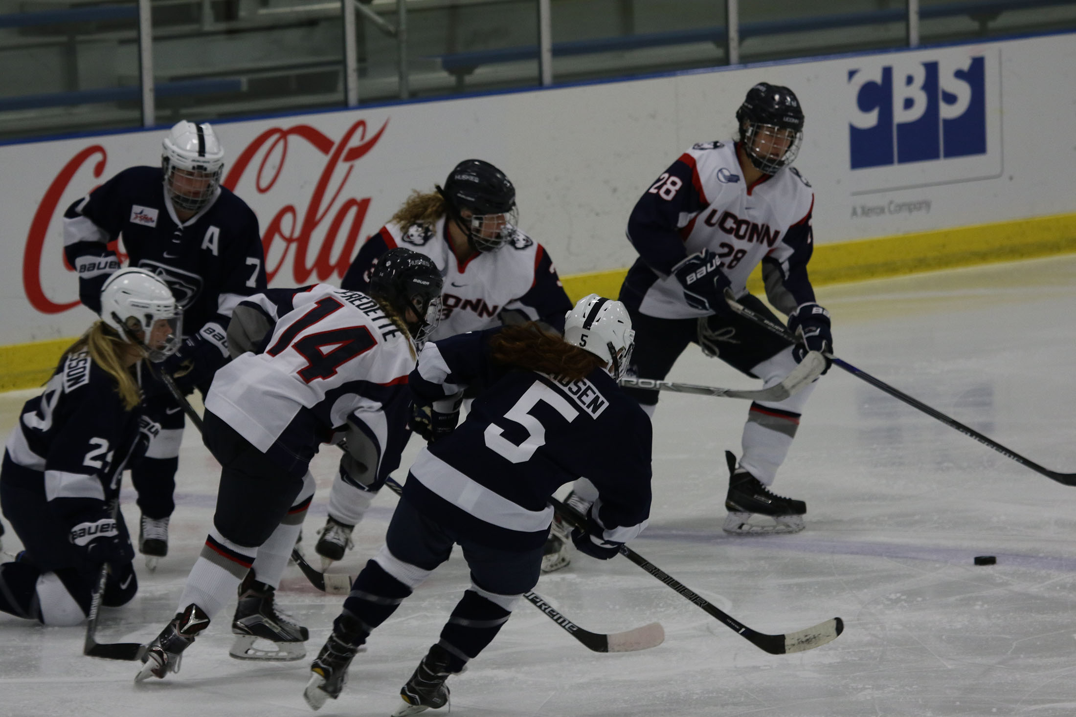 The ladies pulled out a 2-1 victory at Walter Brown Arena on Saturday, Dec. 3 against Boston University after their 4-1 loss at Freitas on Friday, Dec. 2.  Saturday's win was the first victory the team has had over BU since the 2009-2010 season.  (Ruohan Li/The Daily Campus)