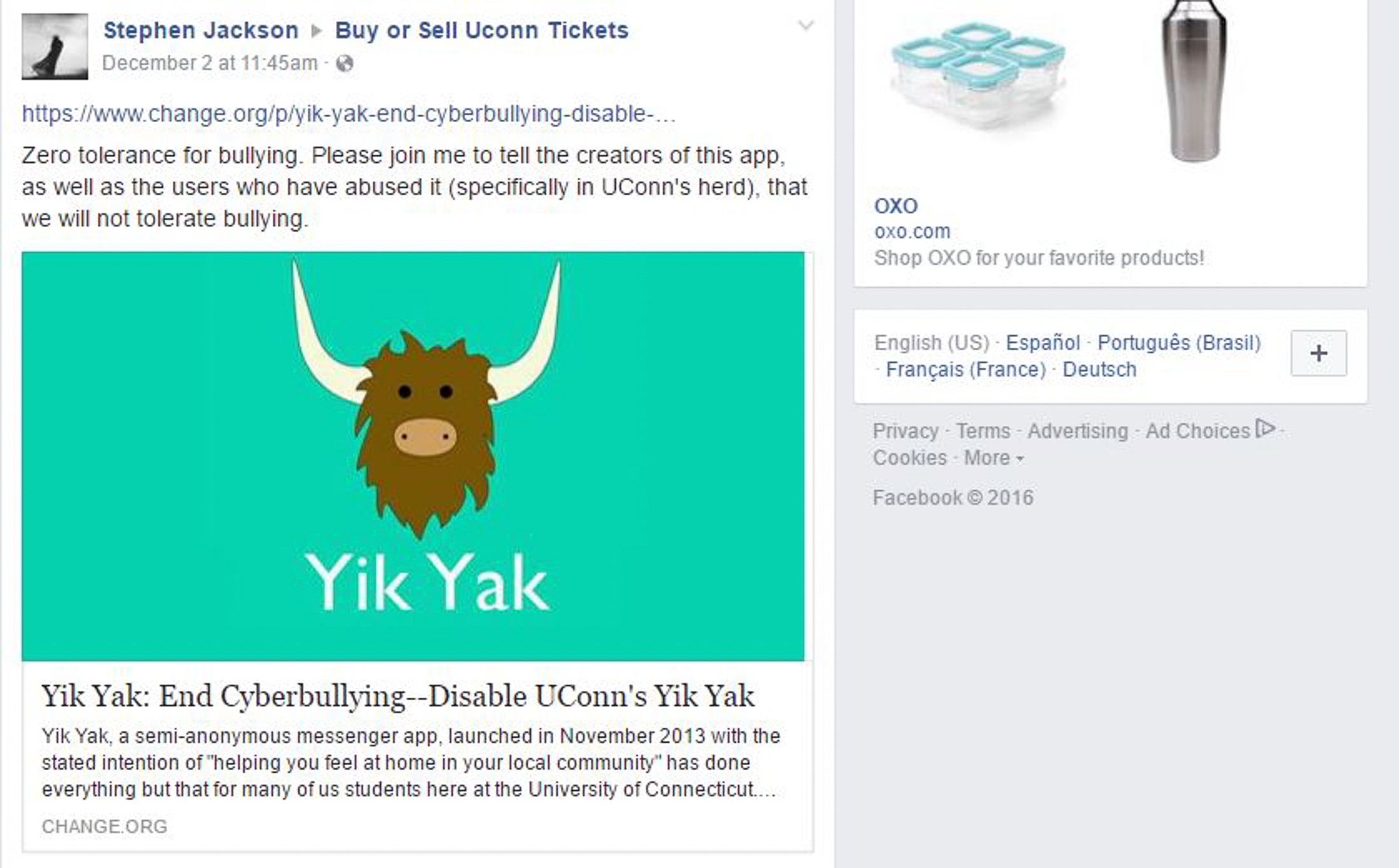 The original post by Stephen Jackson in the UConn Buy or Sell UCokk Tickets Facebook page. (Screenshot/Facebook)