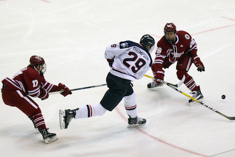 Tage Thompson takes a shot during UConn's victory over UMass on Friday December 9, at the XL Center in Hartford, Conn. (Ian Bethune/The UConn Blog)