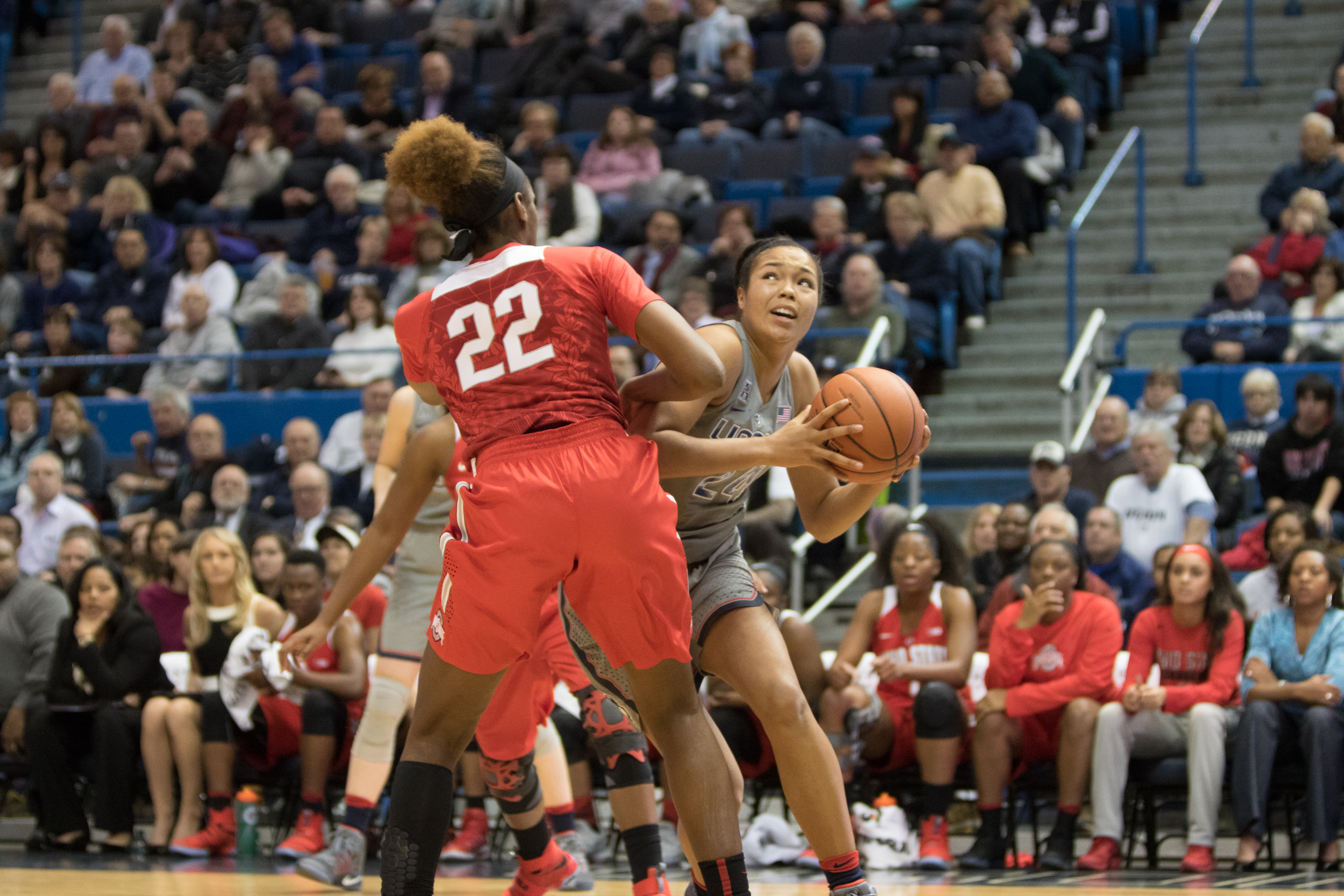 UConn's Napheesa Collier drives towards the hoop in the Huskies' 82-63 win over No. 12 Ohio State on Monday, Dec. 19, 2016 at the XL Center in Hartford, Connecticut.