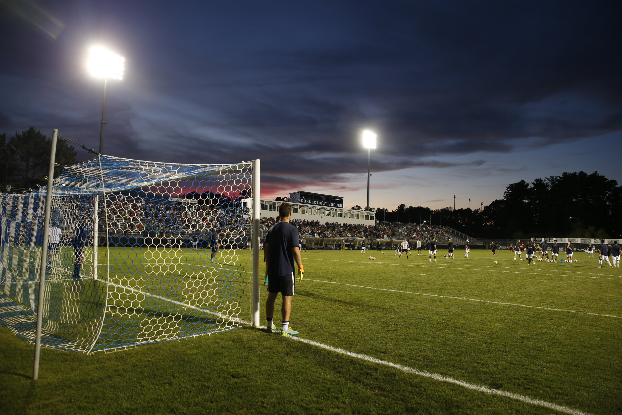 A night shot of Morrone Stadium, home of the UConn men's and women's soccer programs. (Tyler Benton/The Daily Campus)