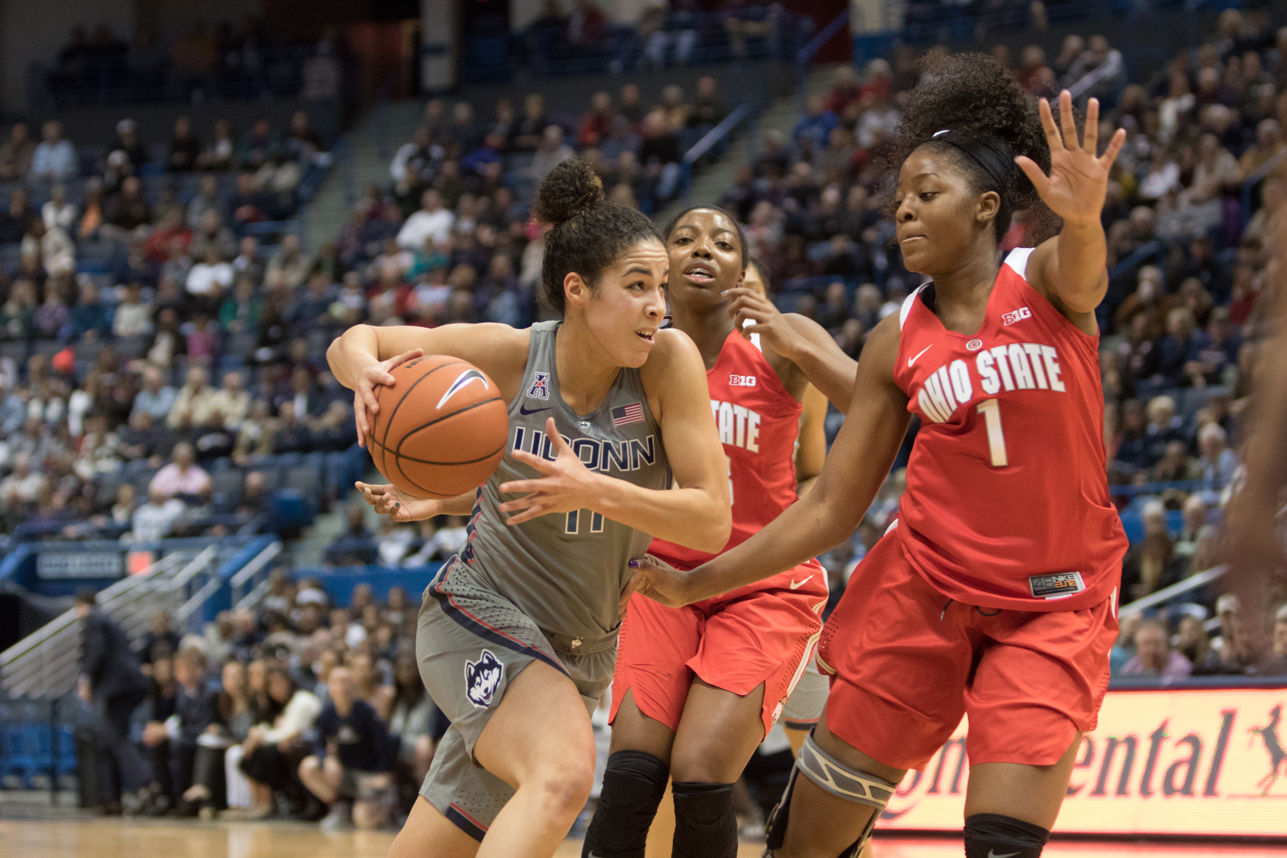 Kia Nurse goes up against Ohio State defenders in a game at the XL Center on Monday, Dec. 19. Nurse and the rest of the Huskies will put their 86-game winning streak on the line when they take on fellow undefeated team Maryland on Thursday, Dec. 29 in College Park, Maryland. (Jackson Haigis/The Daily Campus)