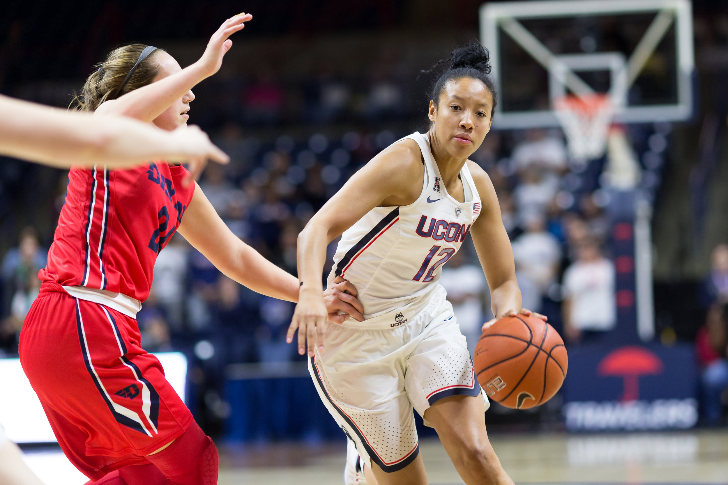 UConn's Saniya Chong dribbles toward the hoop in the Huskies' 98-65 win over Dayton on Nov. 22, 2016 at Gampel Pavilion. (Tyler Benton/The Daily Campus)