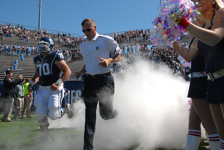 Photo of Randy Edsall during his 2010 coaching year at the UConn vs Texas Southern game September 12, 2010. UConn won 62-3. Our staff greet his re-hire with mixed feelings. (File Photo/ The Daily Campus)