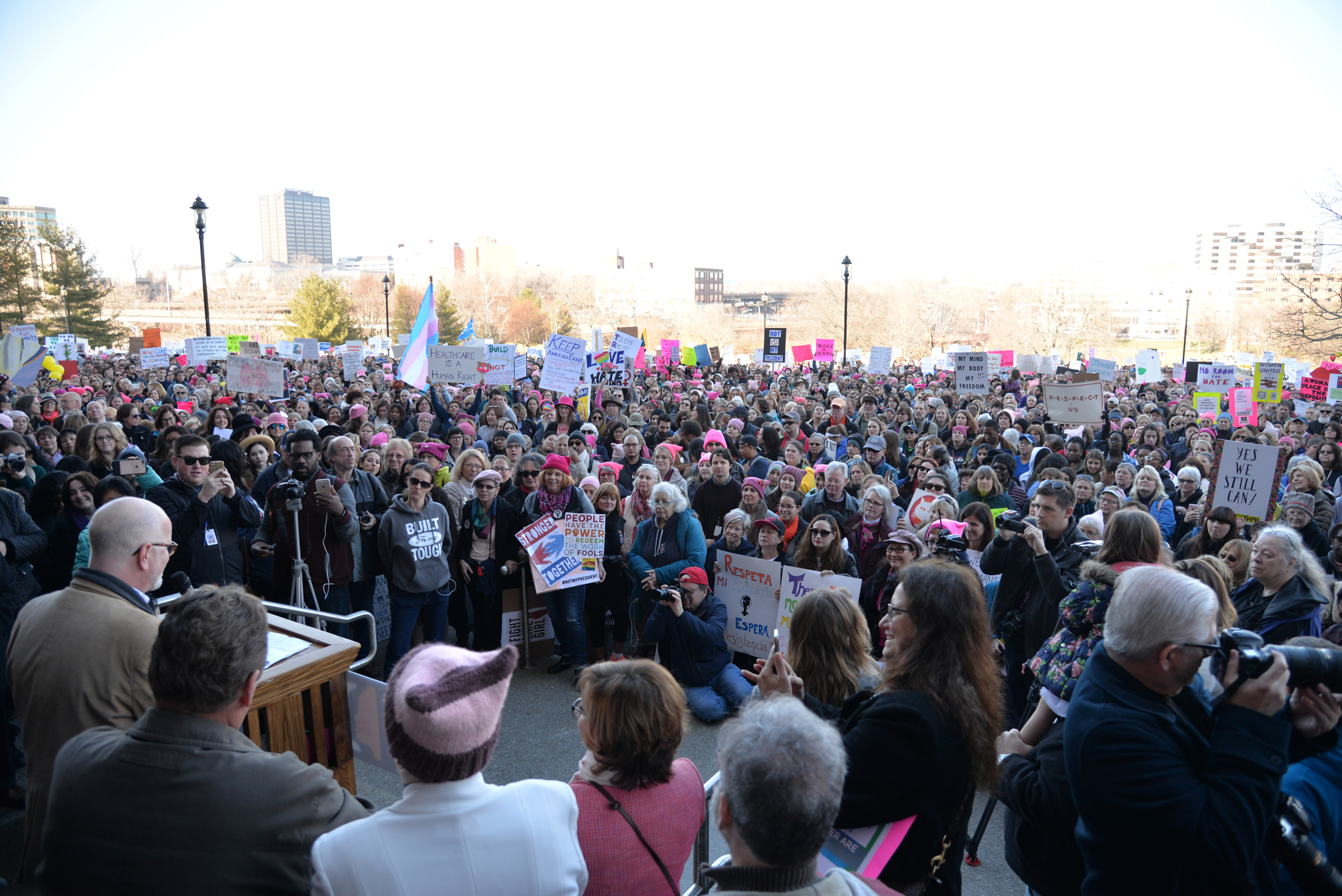 "State Comptroller Kevin Lembo speaks in solidarity with marchers at the ""Women's March on Hartford, CT: In Solidarity with Washington"" on Saturday, Jan. 21, 2016. (Amar Batra/The Daily Campus)"