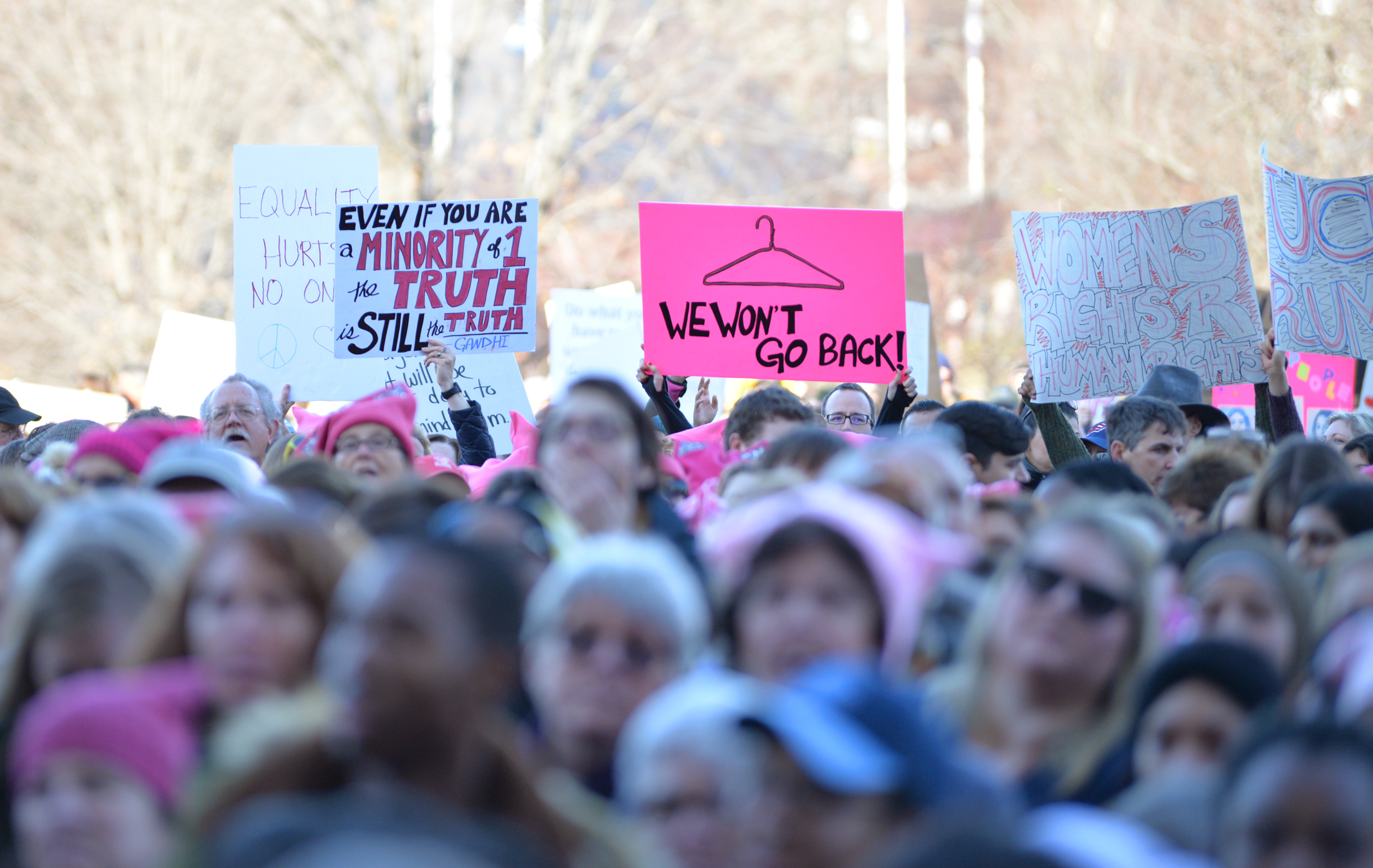 "Capitol police estimate that over 10,000 peopled marched on the State Capitol to protest Trump's stance on women's and minorities rights during the ""Women's March on Hartford, CT: In Solidarity with Washington"" on Saturday, Jan. 21, 2016. (Amar Batra/The Daily Campus)"